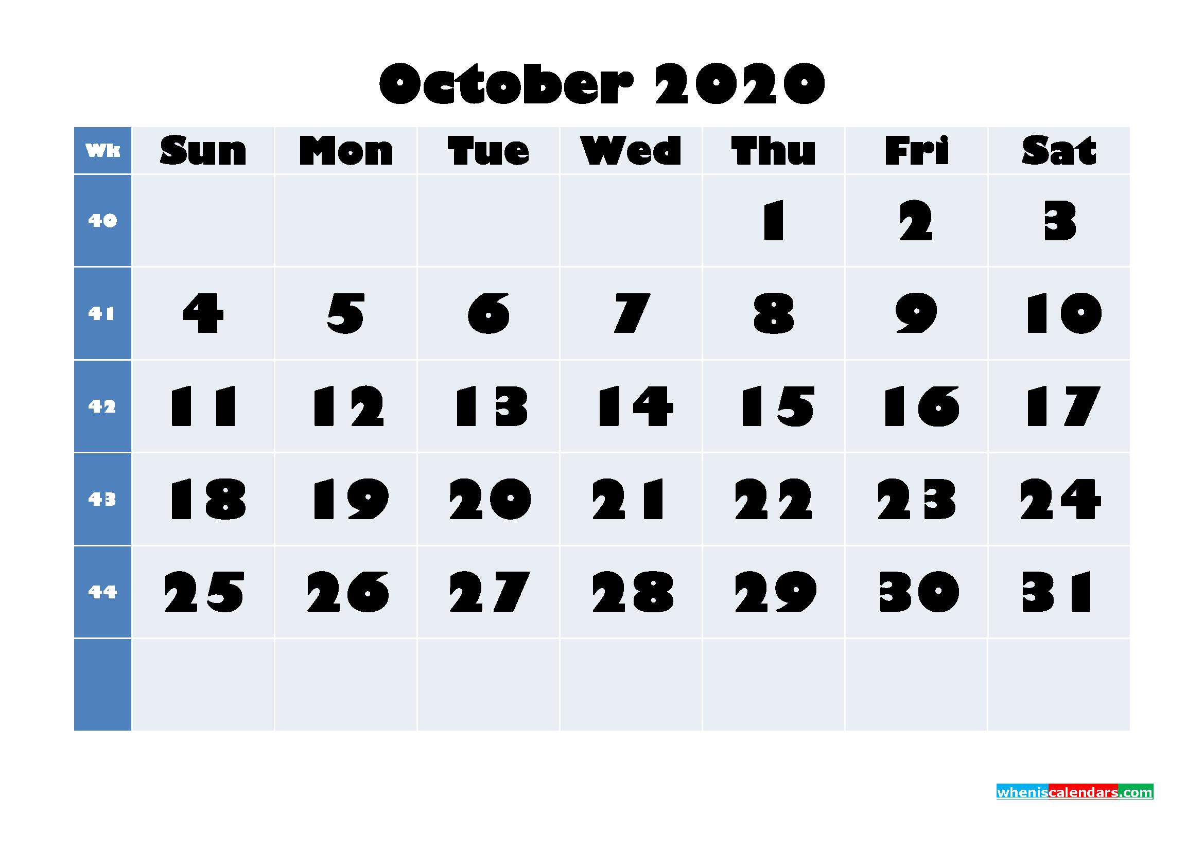 October 2020 Blank Calendar Printable - No.m20b646