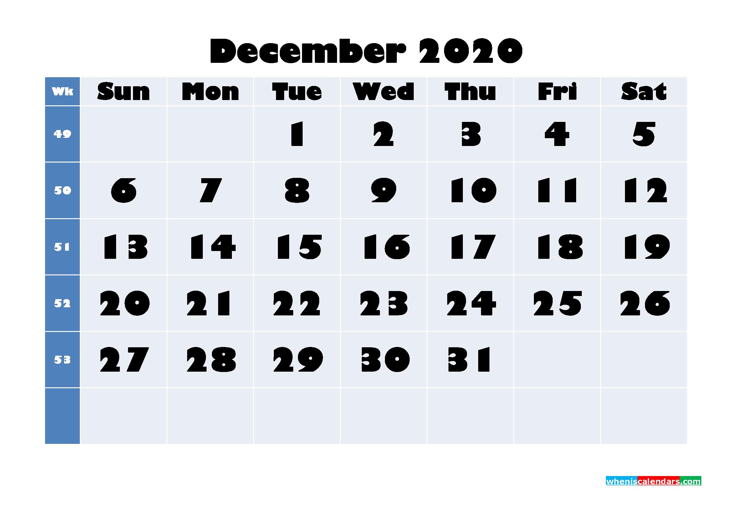 December 2020 Blank Calendar Printable - No.m20b648