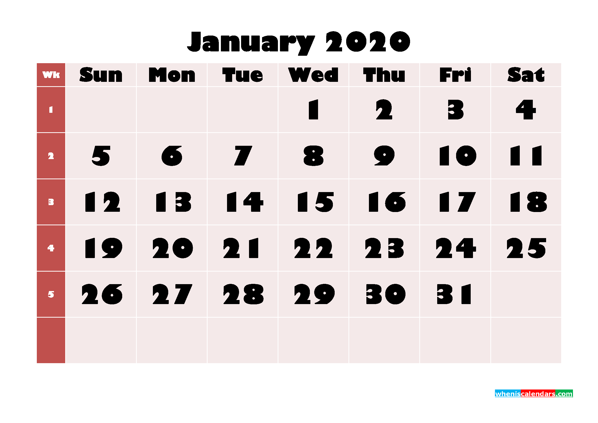 Free Printable Calendar January 2020 PDF, Word - No.m20b649