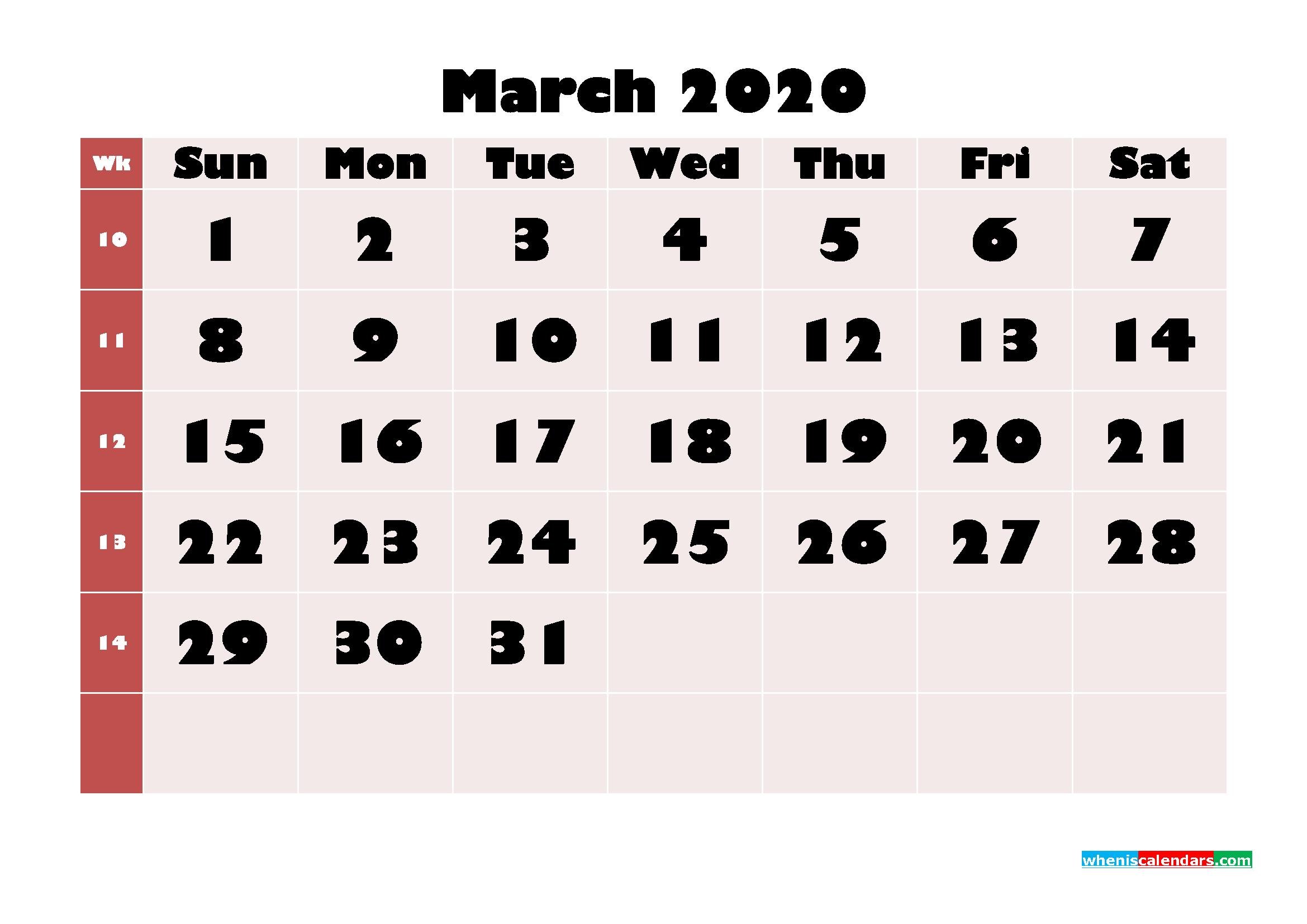 Free Printable Calendar March 2020 PDF, Word - No.m20b651