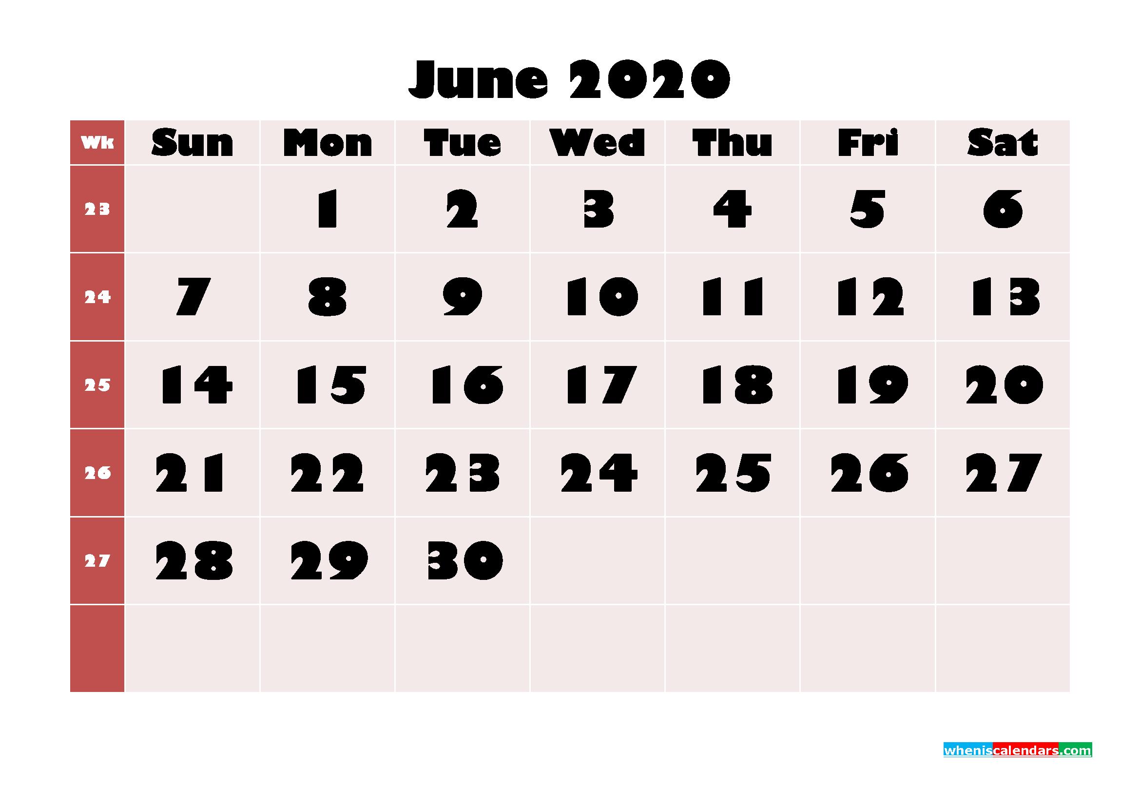 Free Printable Calendar June 2020 PDF, Word - No.m20b654