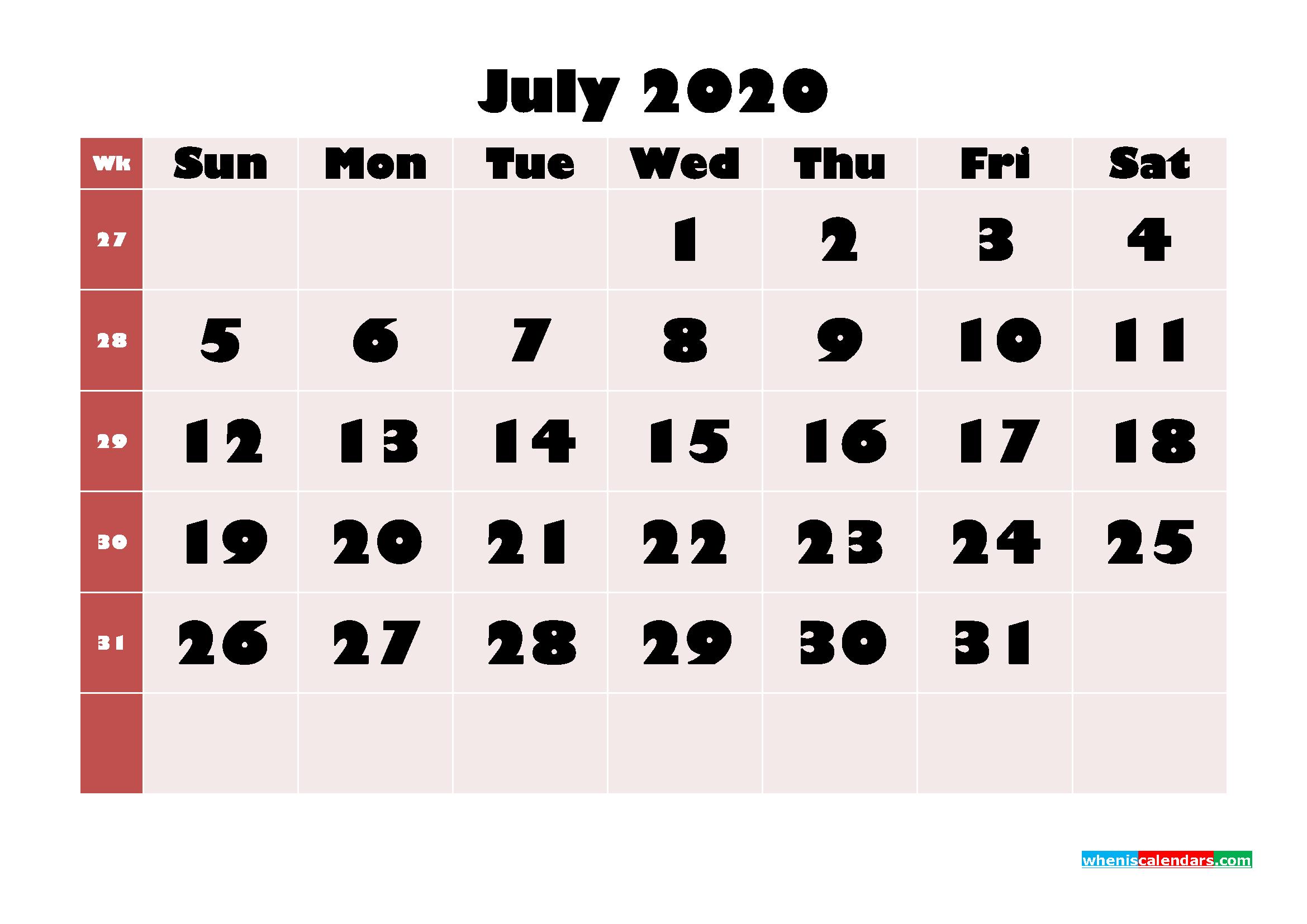 Free Printable Calendar July 2020 PDF, Word - No.m20b655