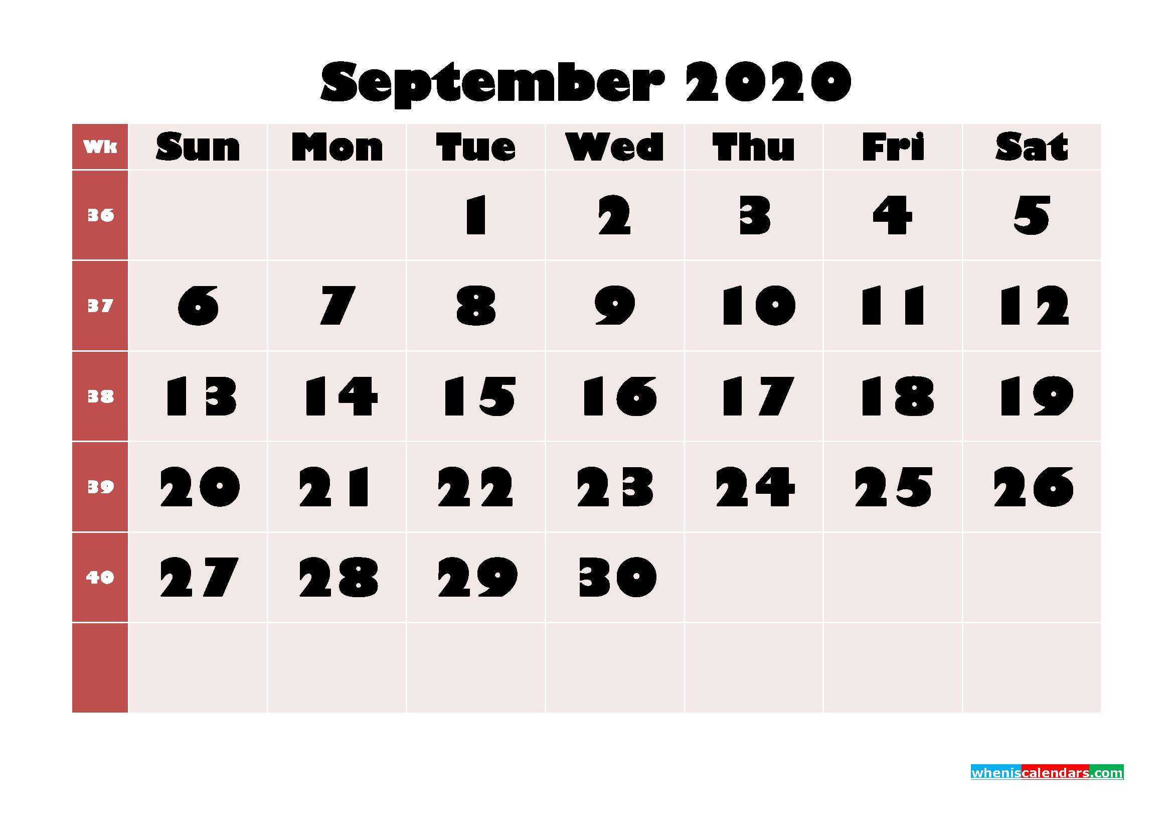 Free Printable Calendar September 2020 PDF, Word - No.m20b657