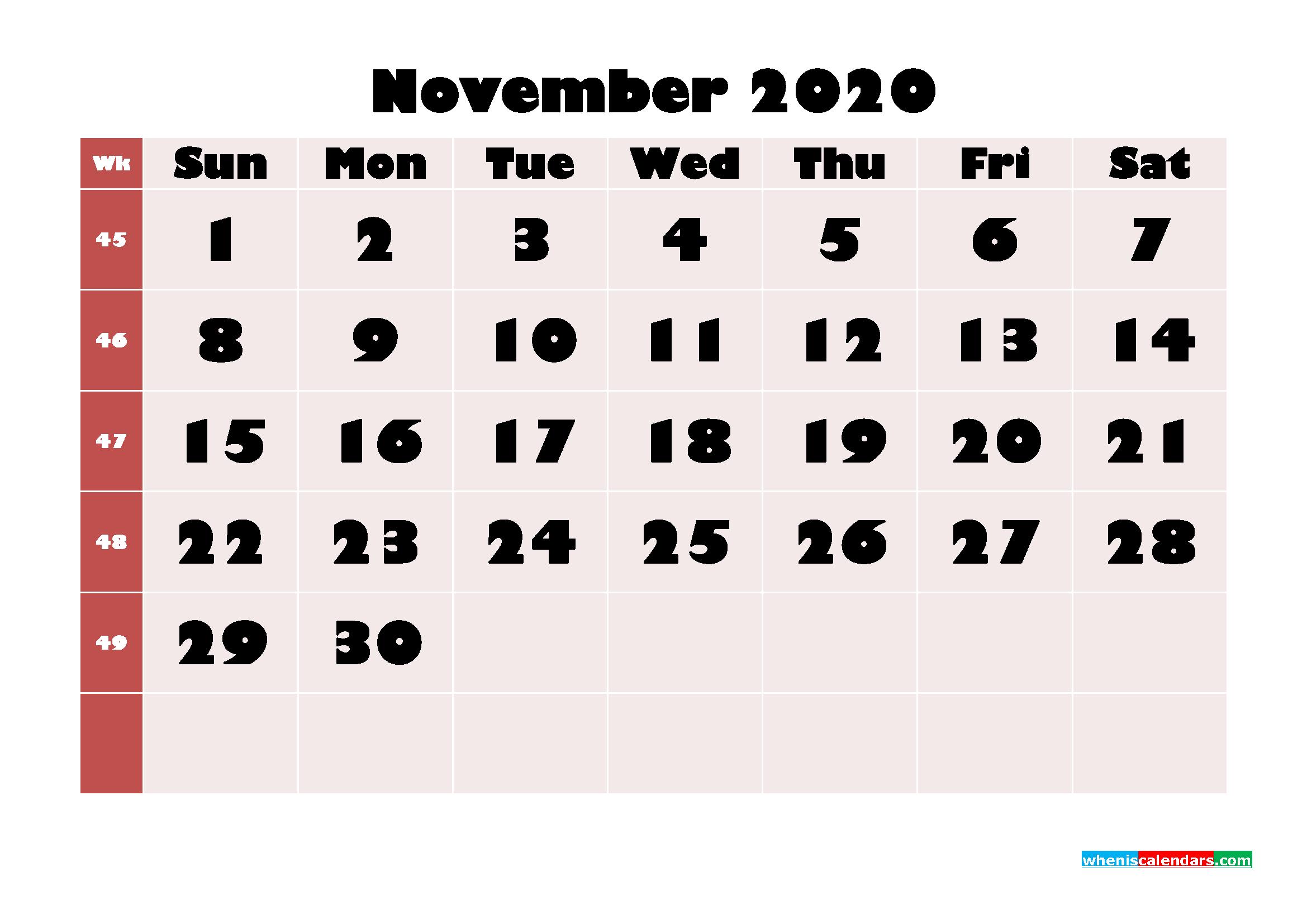 Free Printable Calendar November 2020 PDF, Word - No.m20b659
