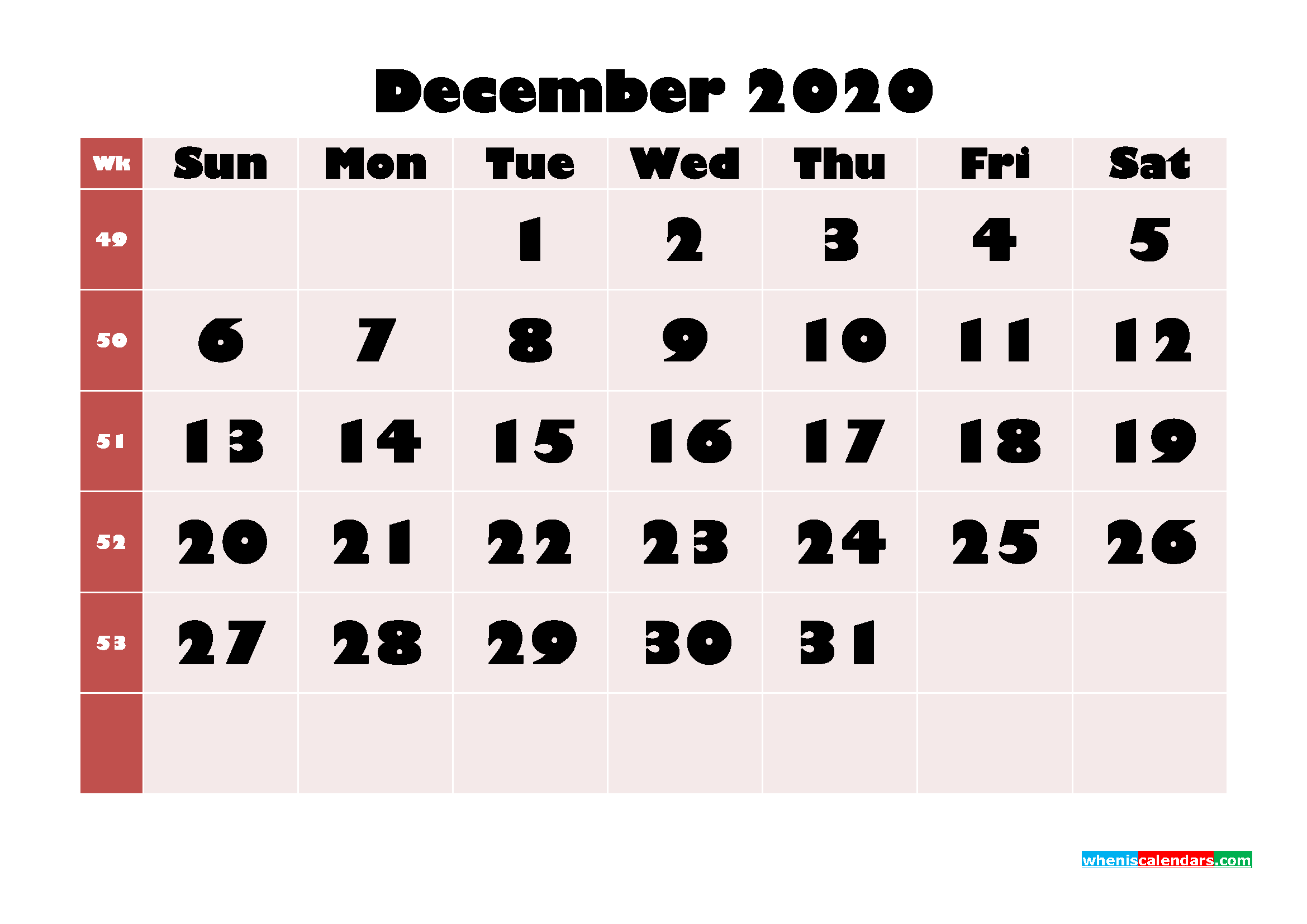 Free Printable Calendar December 2020 PDF, Word - No.m20b660