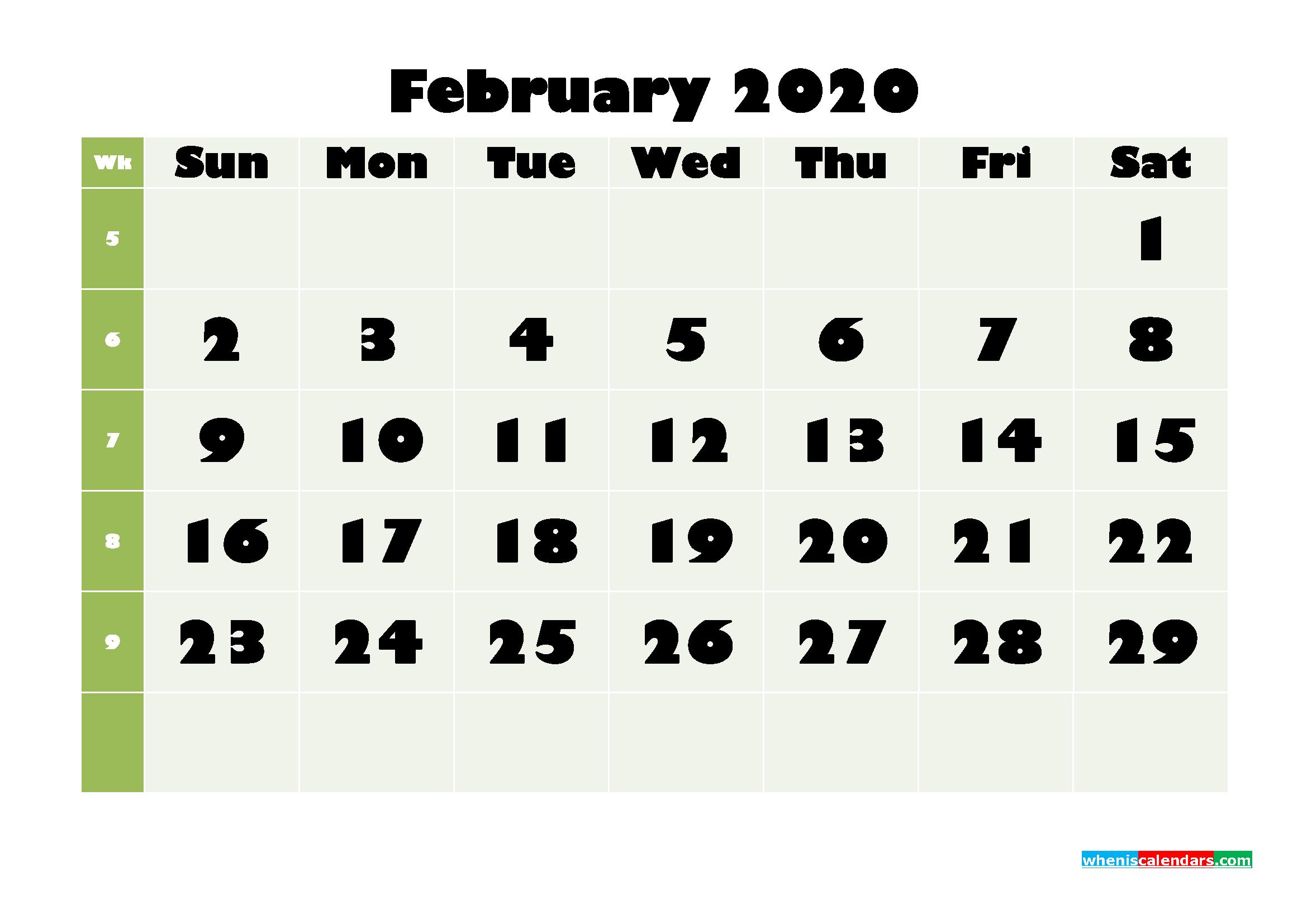February Printable Calendar 2020 PDF, Word - No.m20b662