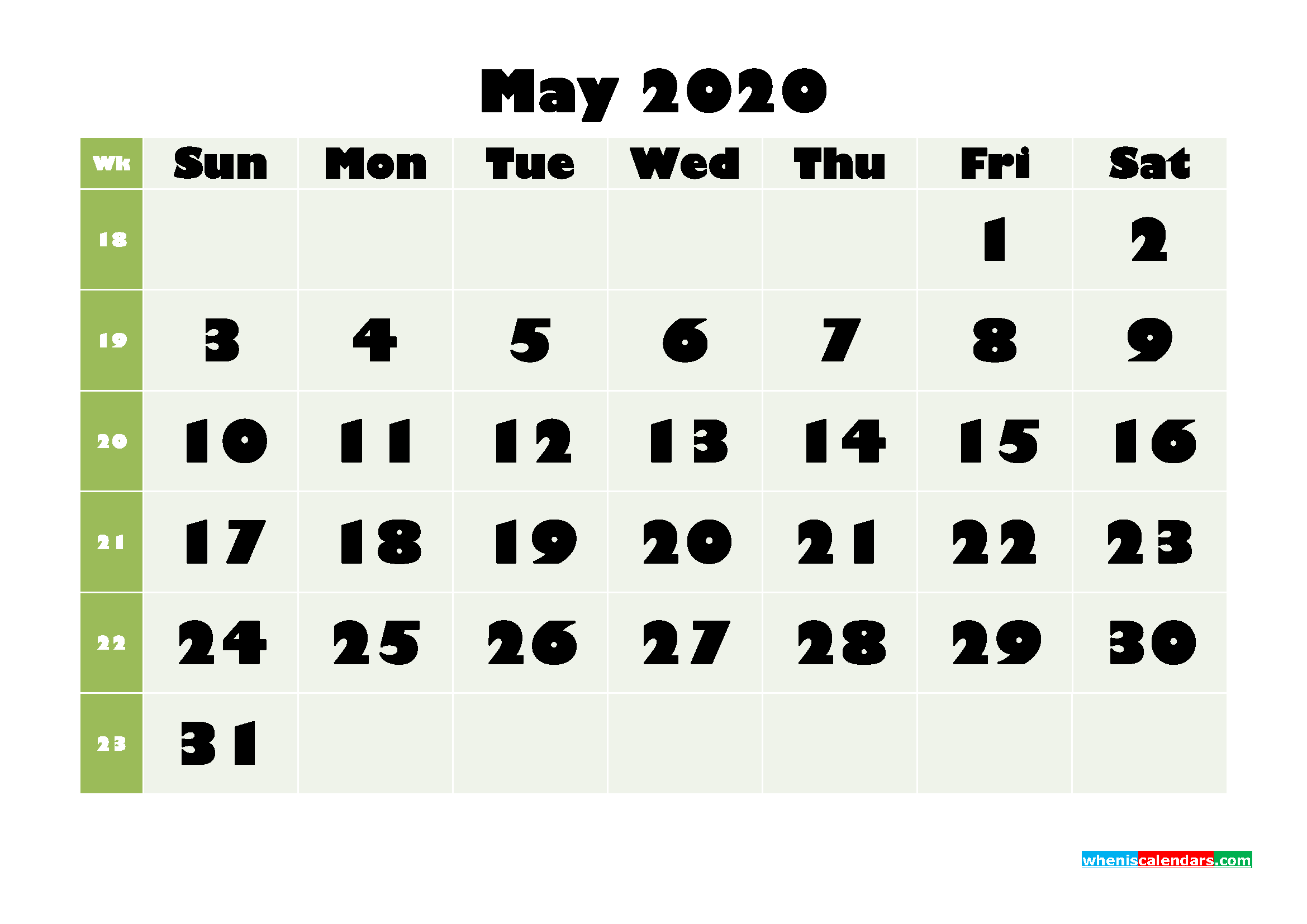May Printable Calendar 2020 PDF, Word - No.m20b665