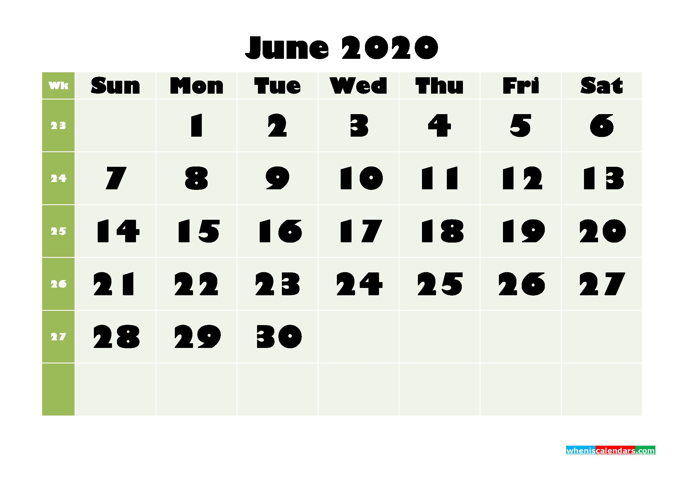 June Printable Calendar 2020 PDF, Word - No.m20b666
