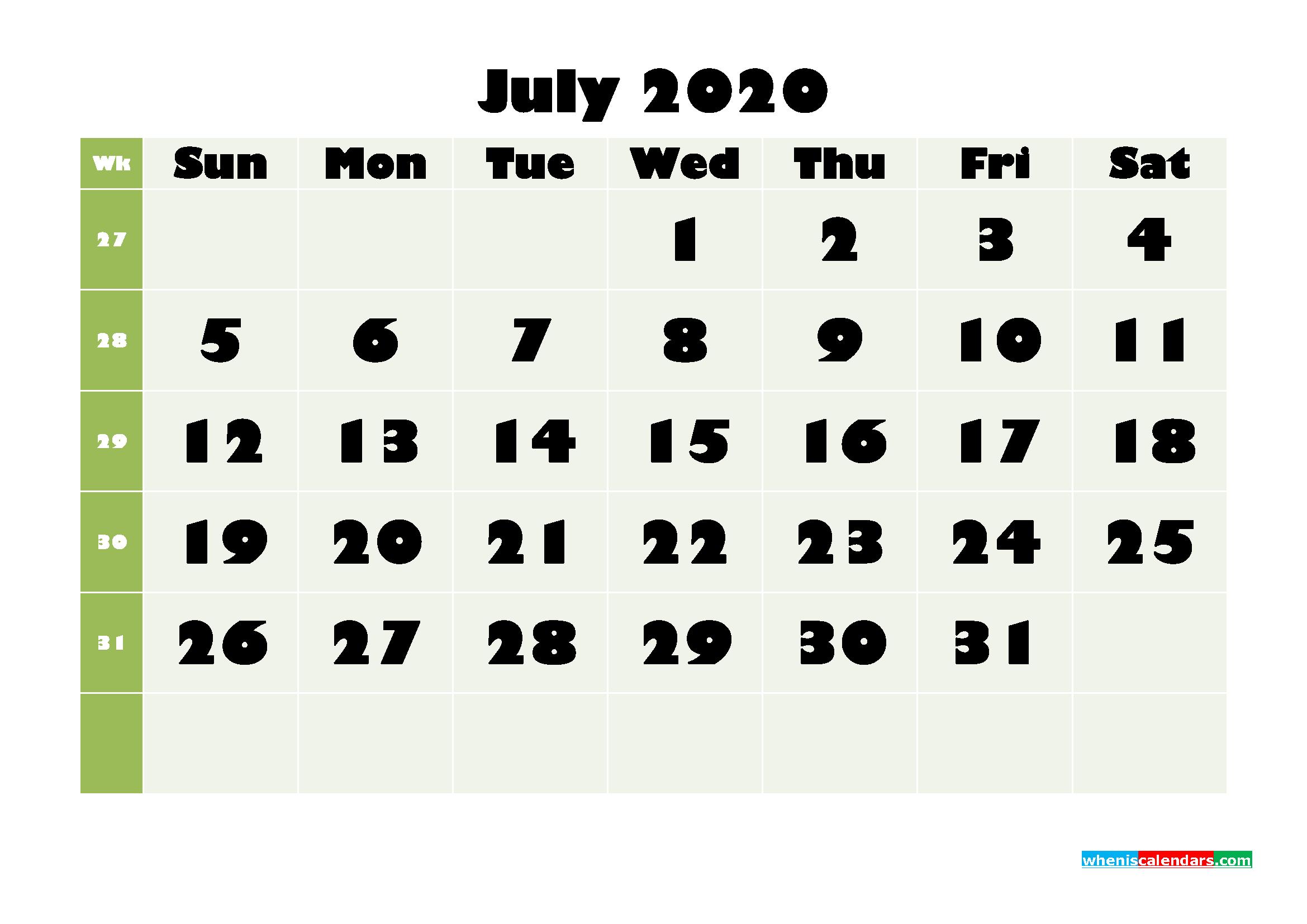 July Printable Calendar 2020 PDF, Word - No.m20b667