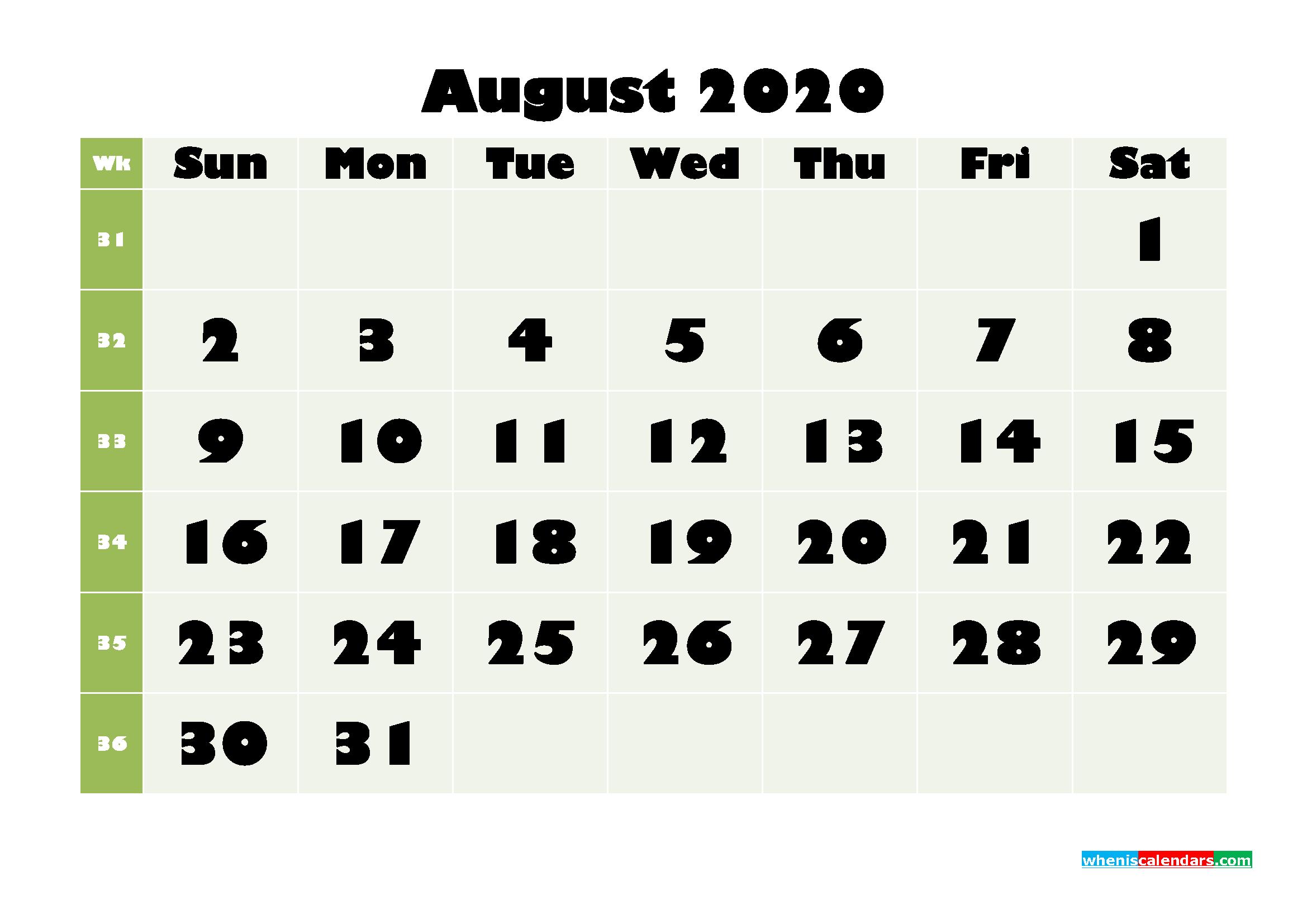 August Printable Calendar 2020 PDF, Word - No.m20b668