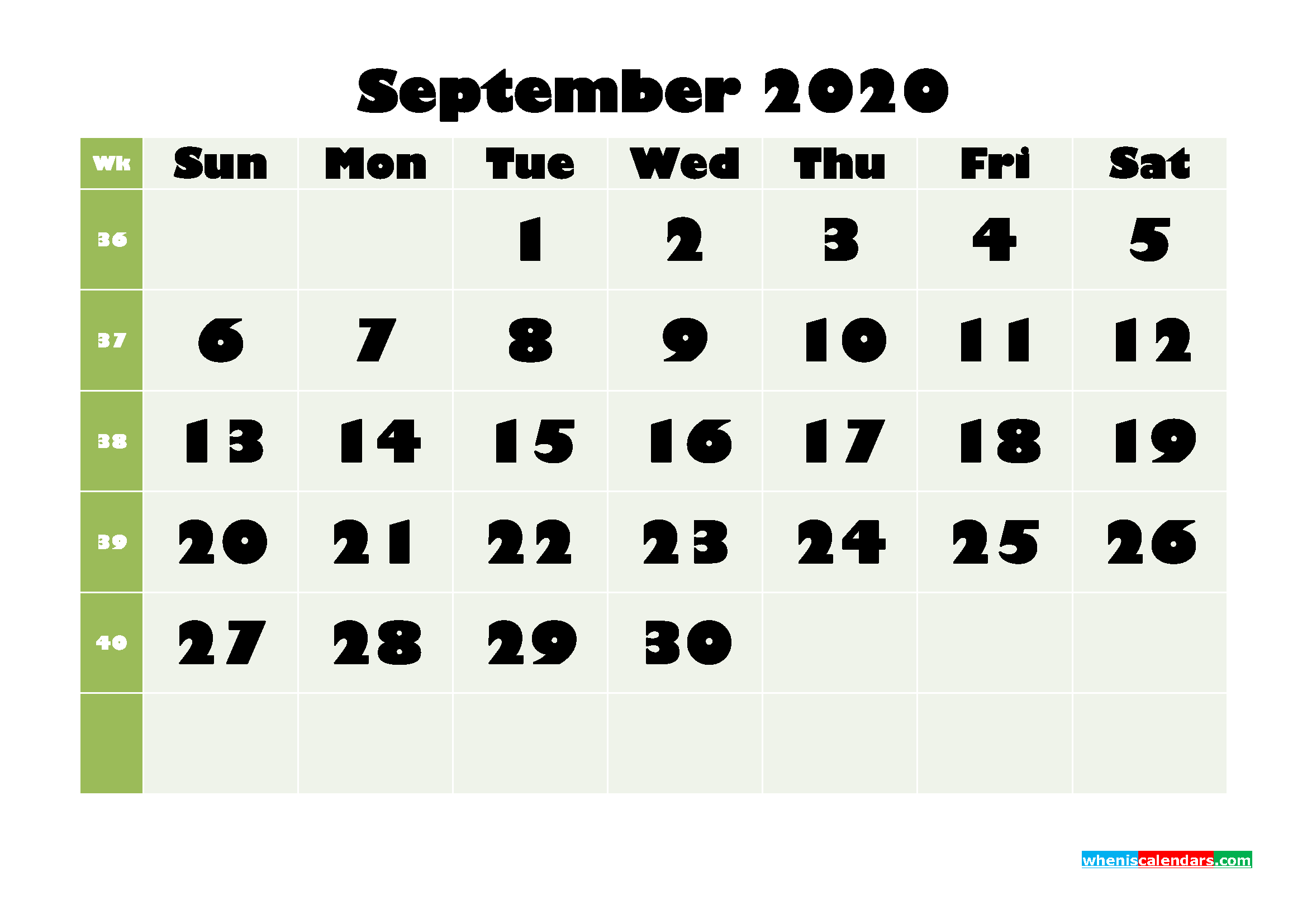 September Printable Calendar 2020 PDF, Word - No.m20b669