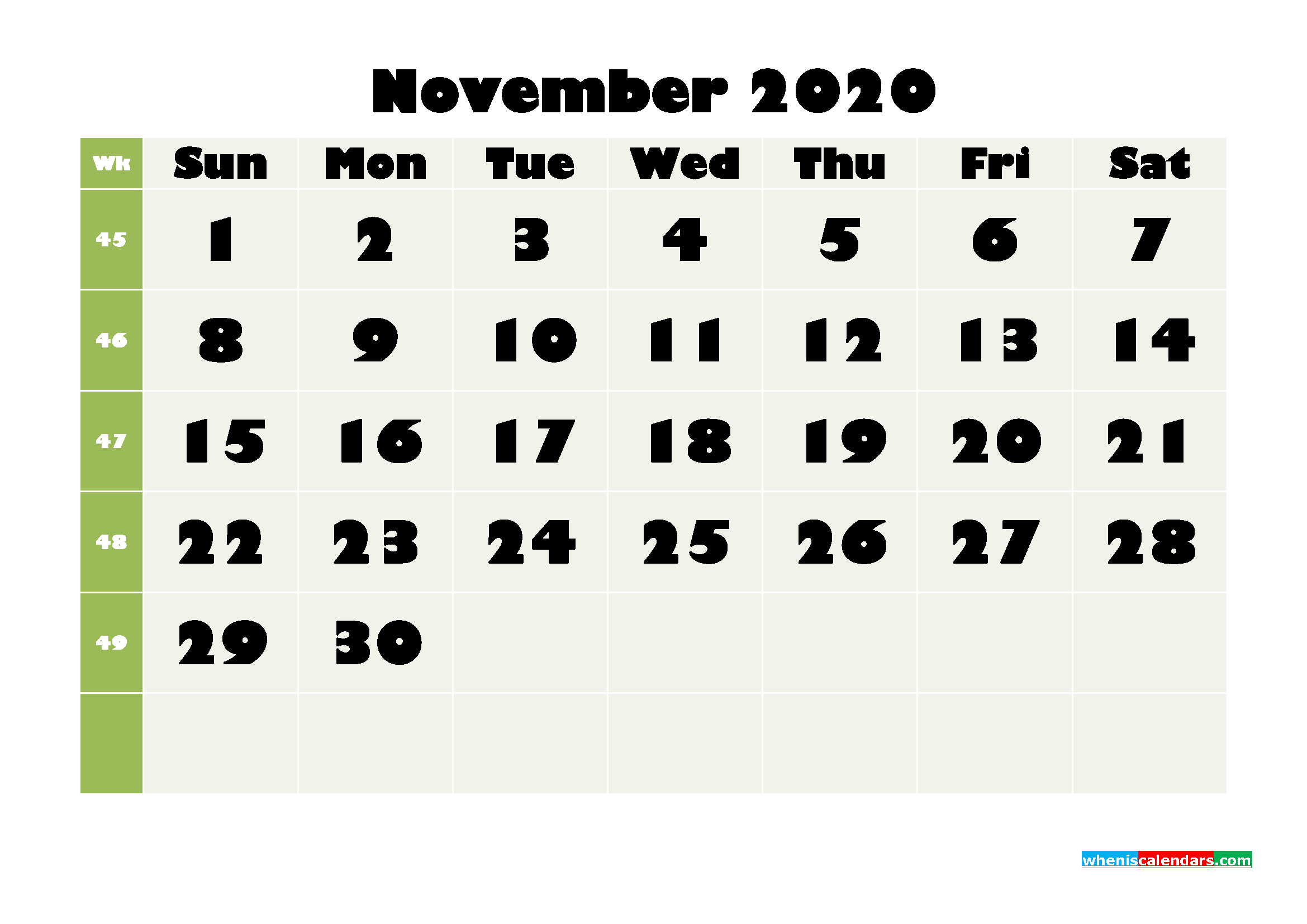November Printable Calendar 2020 PDF, Word - No.m20b671