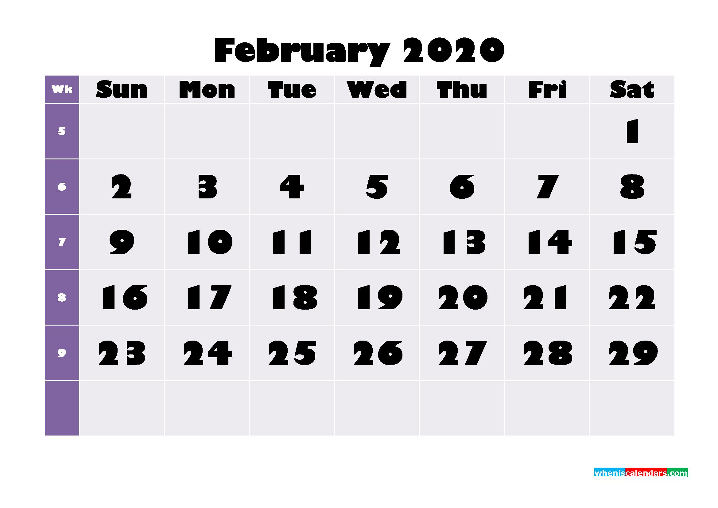 Free Printable February 2020 Calendar - No.m20b674