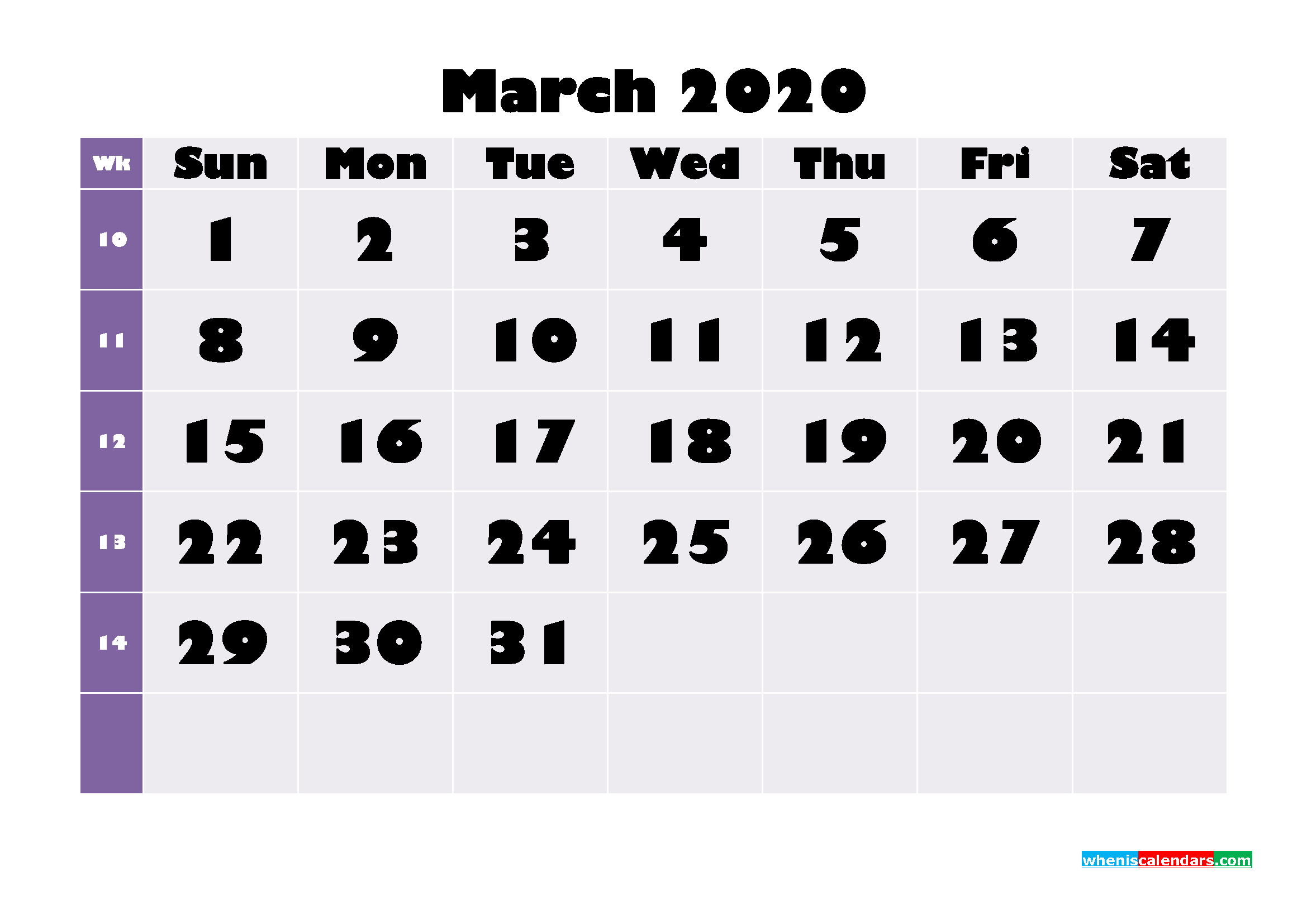 Free Printable March 2020 Calendar - No.m20b675