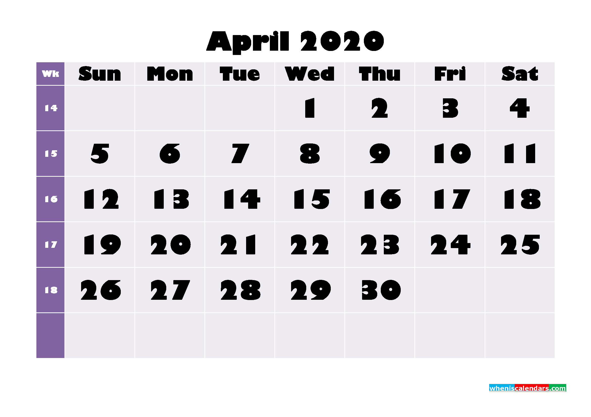 Printable Monthly Calendar 2020 April with Week Numbers