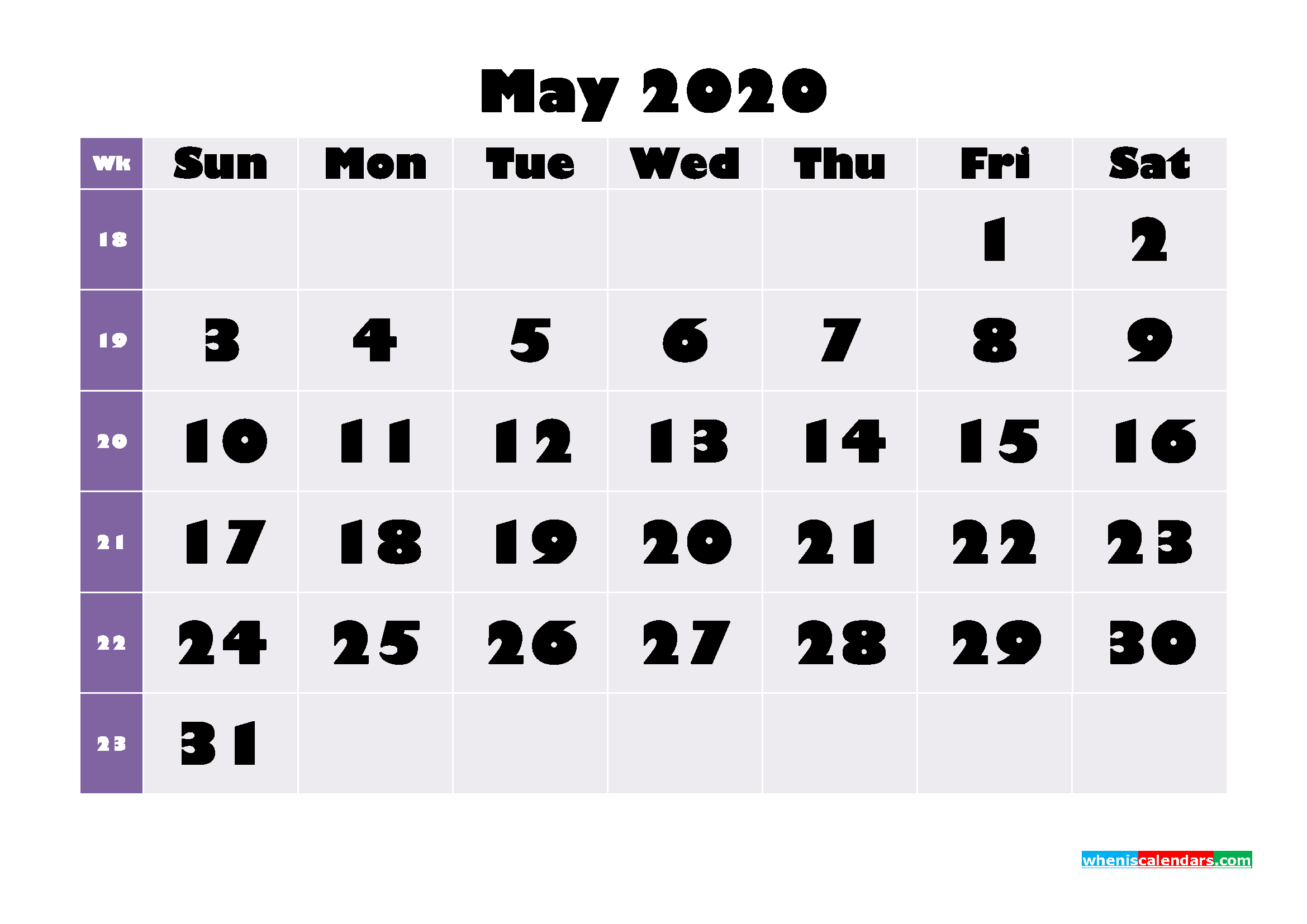 Free Printable May 2020 Calendar - No.m20b677
