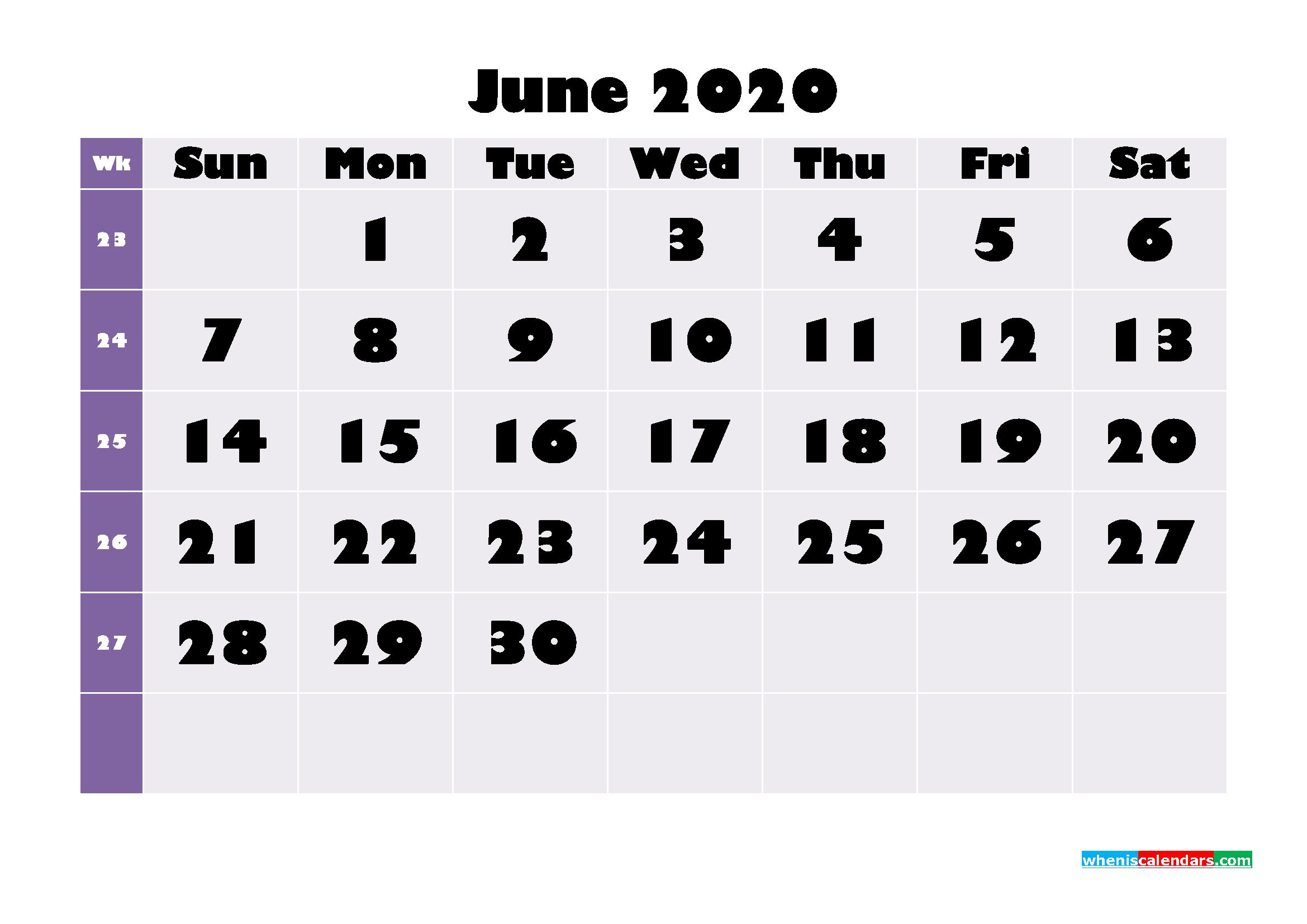 Free Printable June 2020 Calendar - No.m20b678