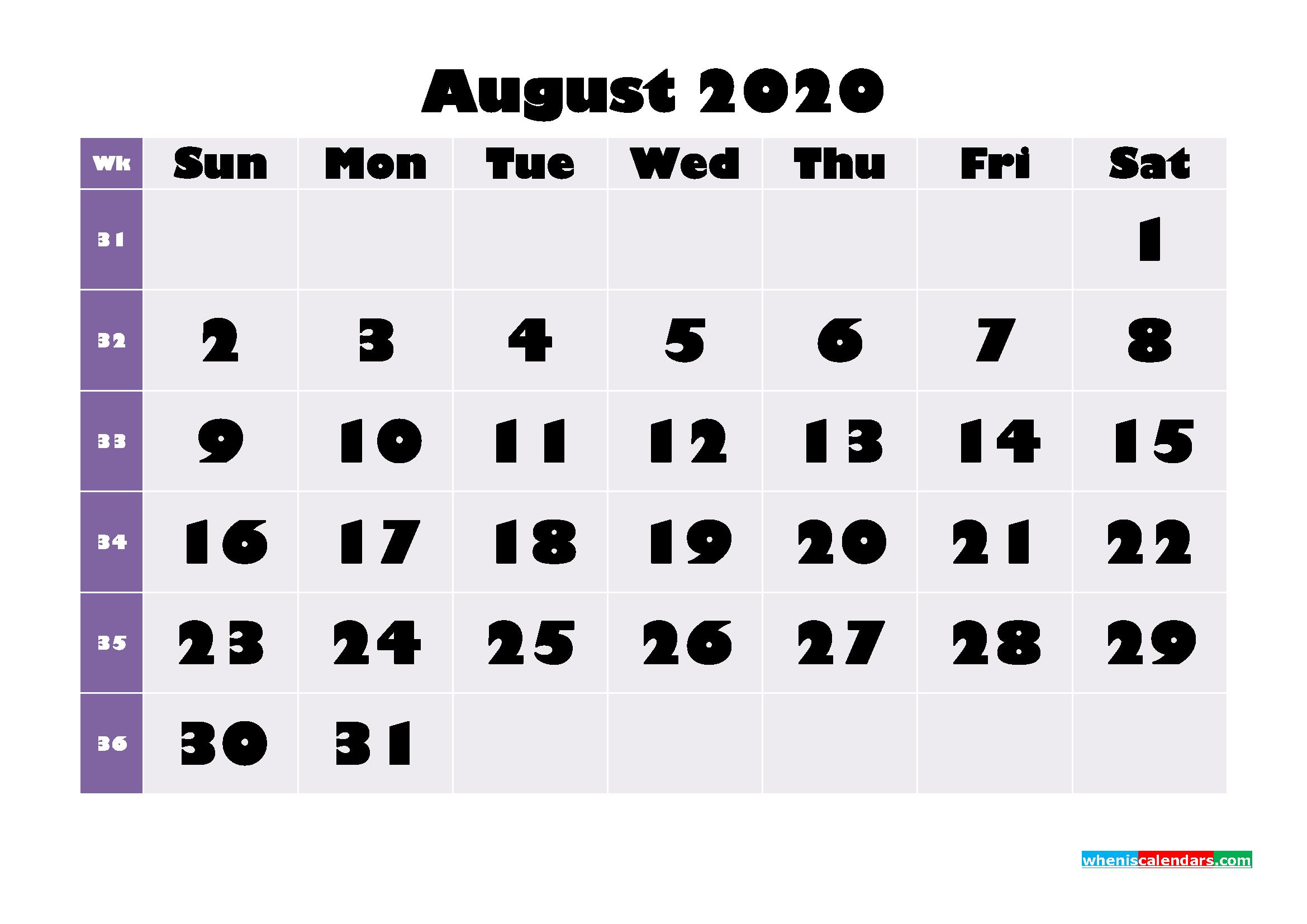 Free Printable August 2020 Calendar - No.m20b680