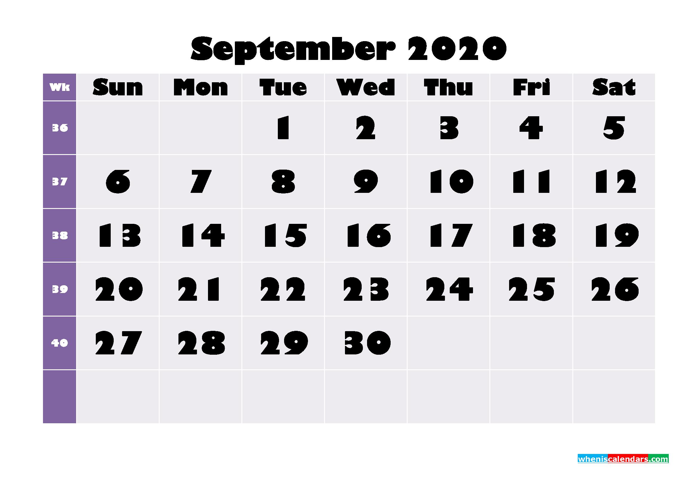Free Printable September 2020 Calendar - No.m20b681