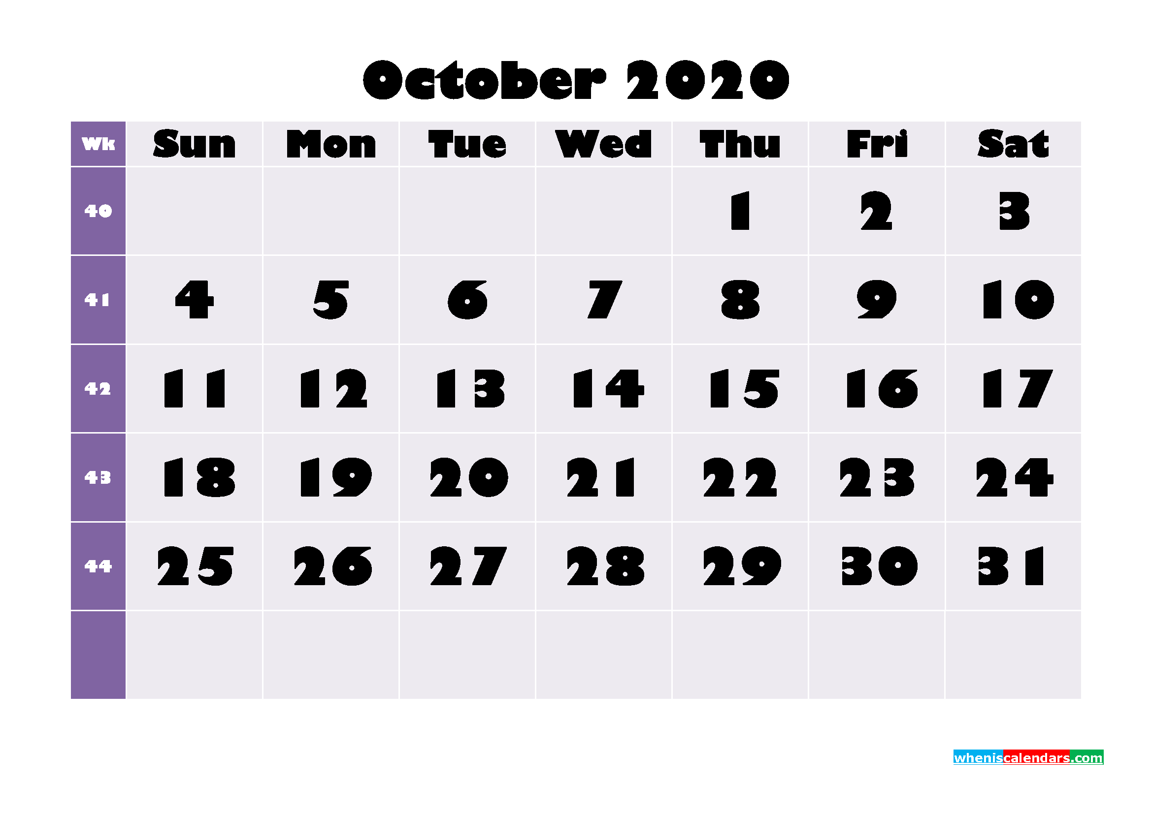 Printable Monthly Calendar 2020 October with Week Numbers