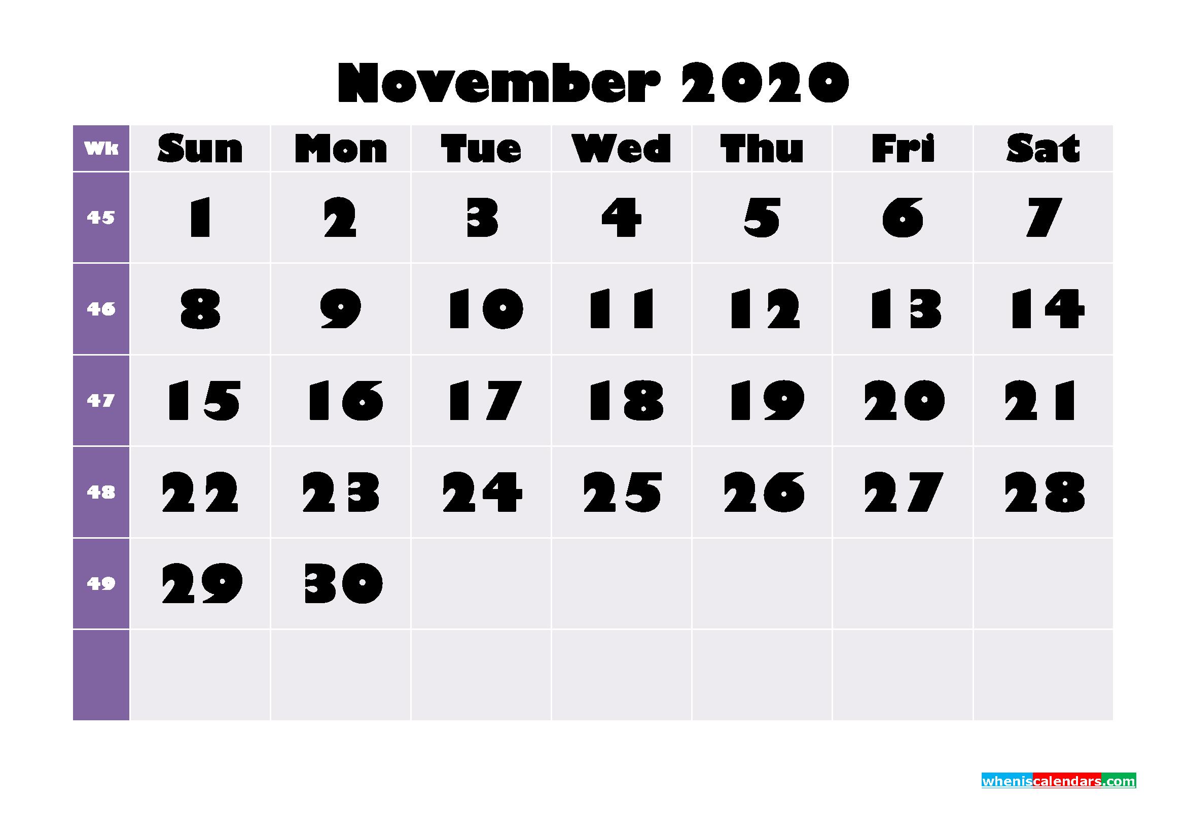 Free Printable November 2020 Calendar - No.m20b683