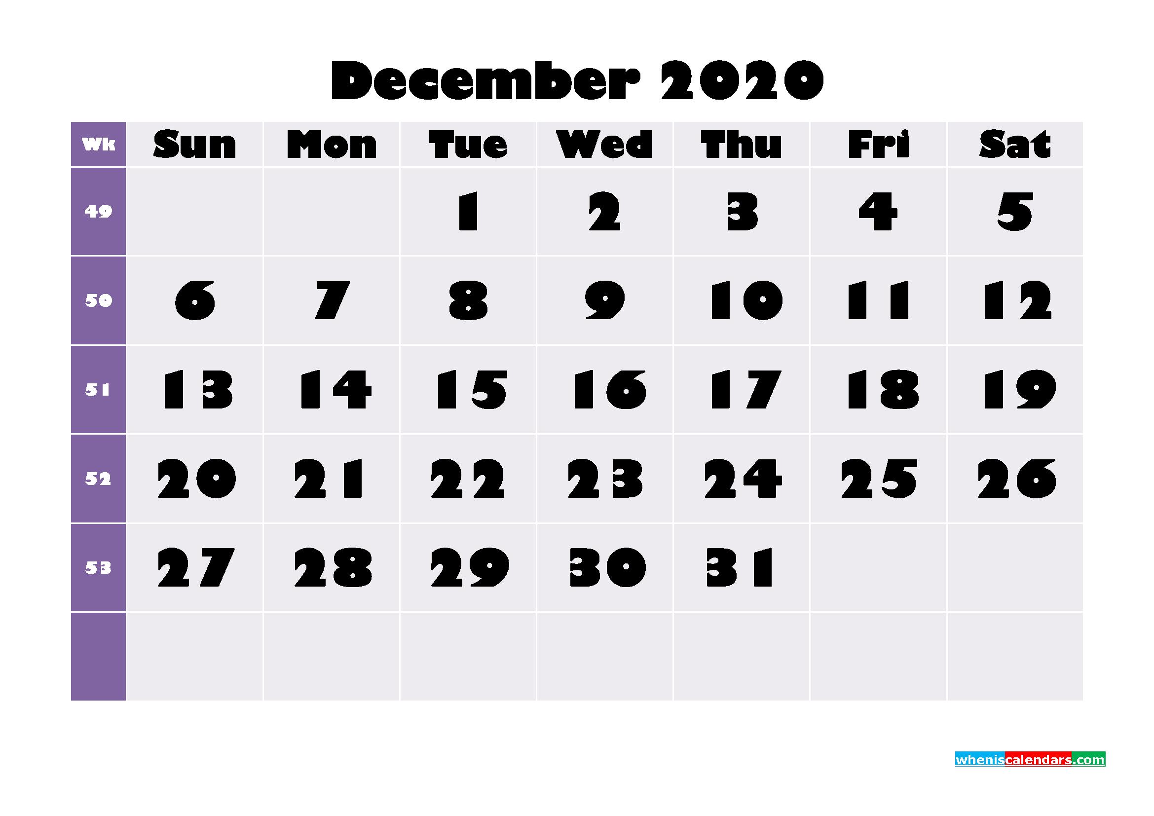 Free Printable December 2020 Calendar - No.m20b684