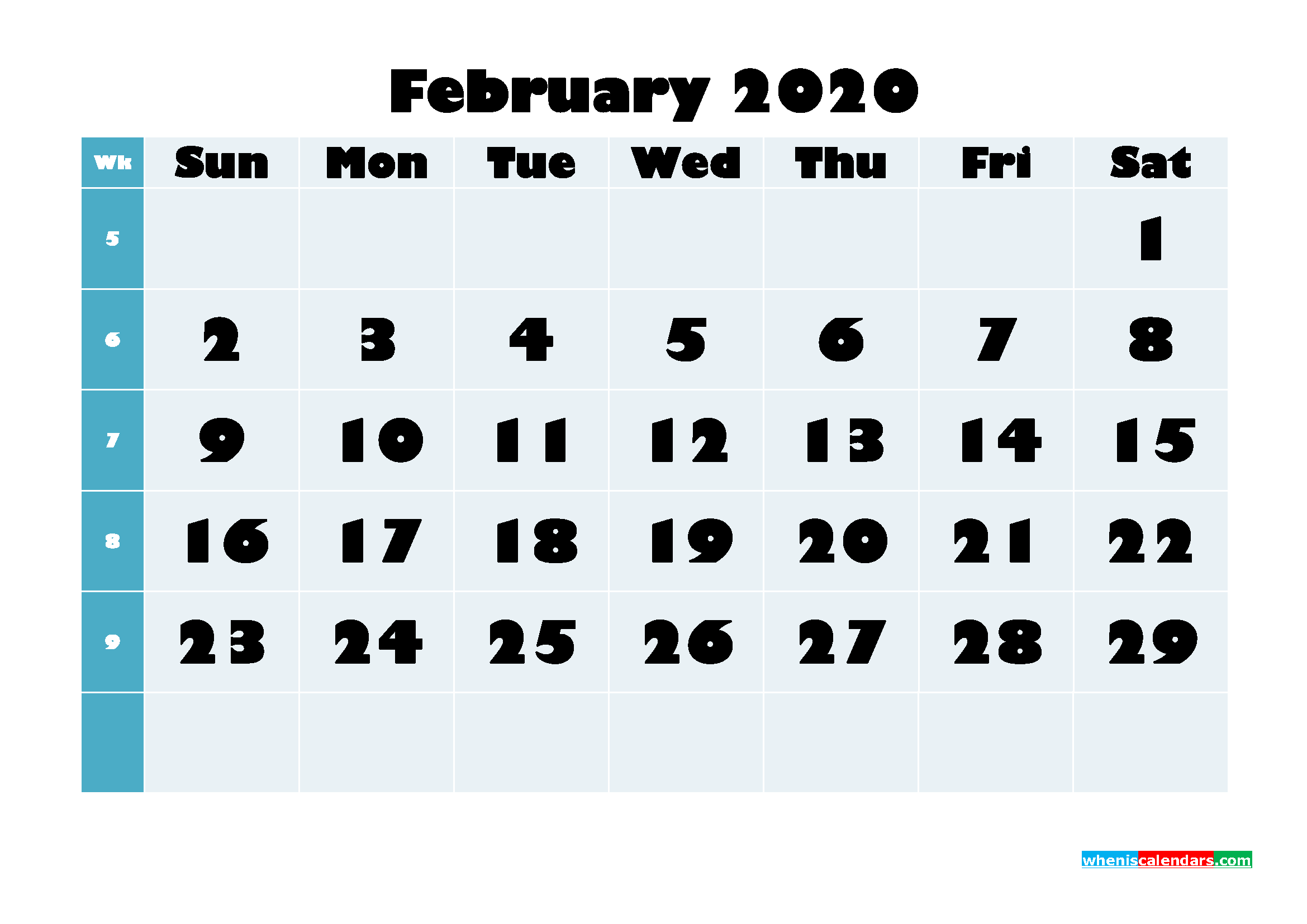 February 2020 Monthly Calendar Template Word