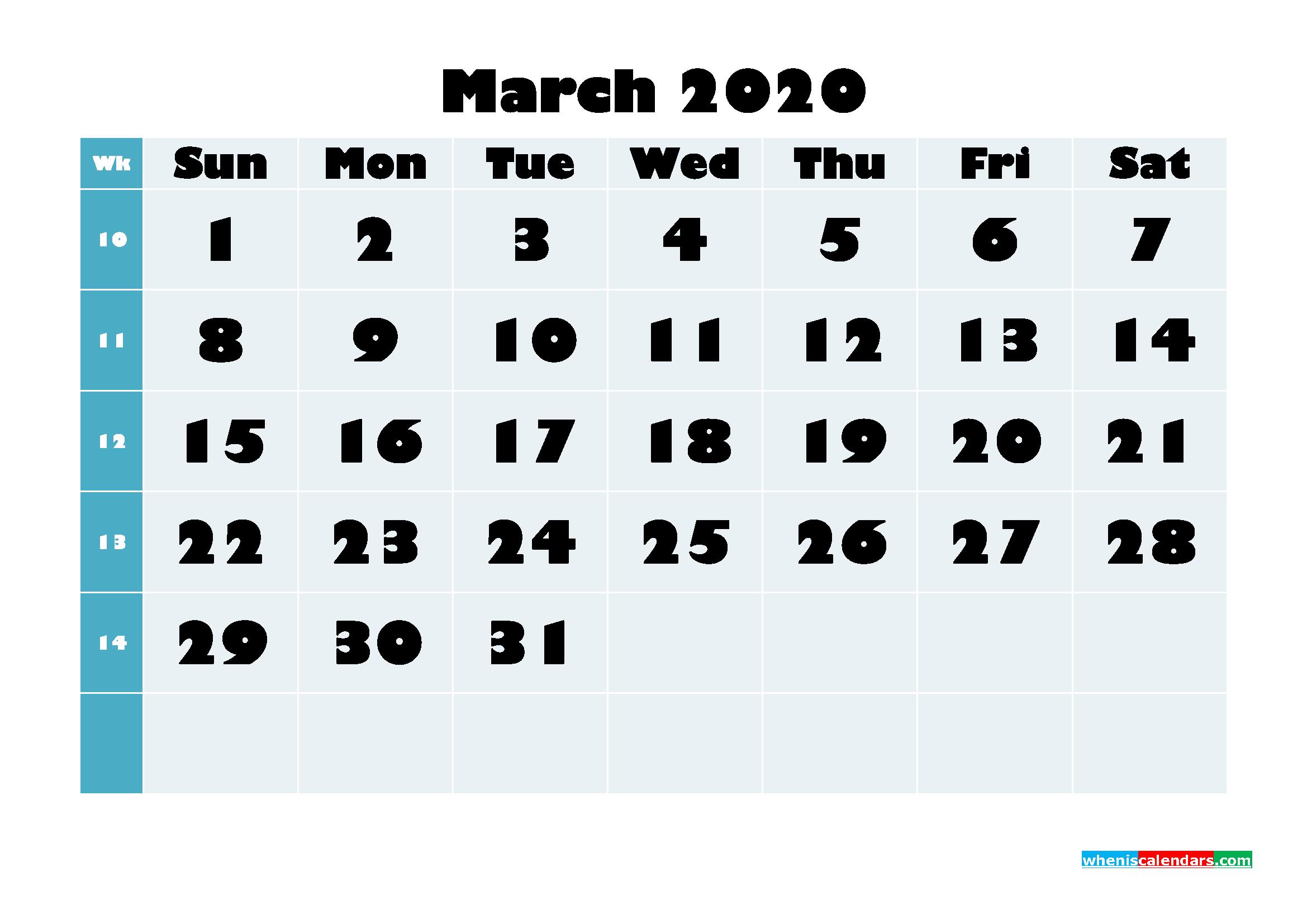 Free Blank Calendar March 2020 Printable - No.m20b687