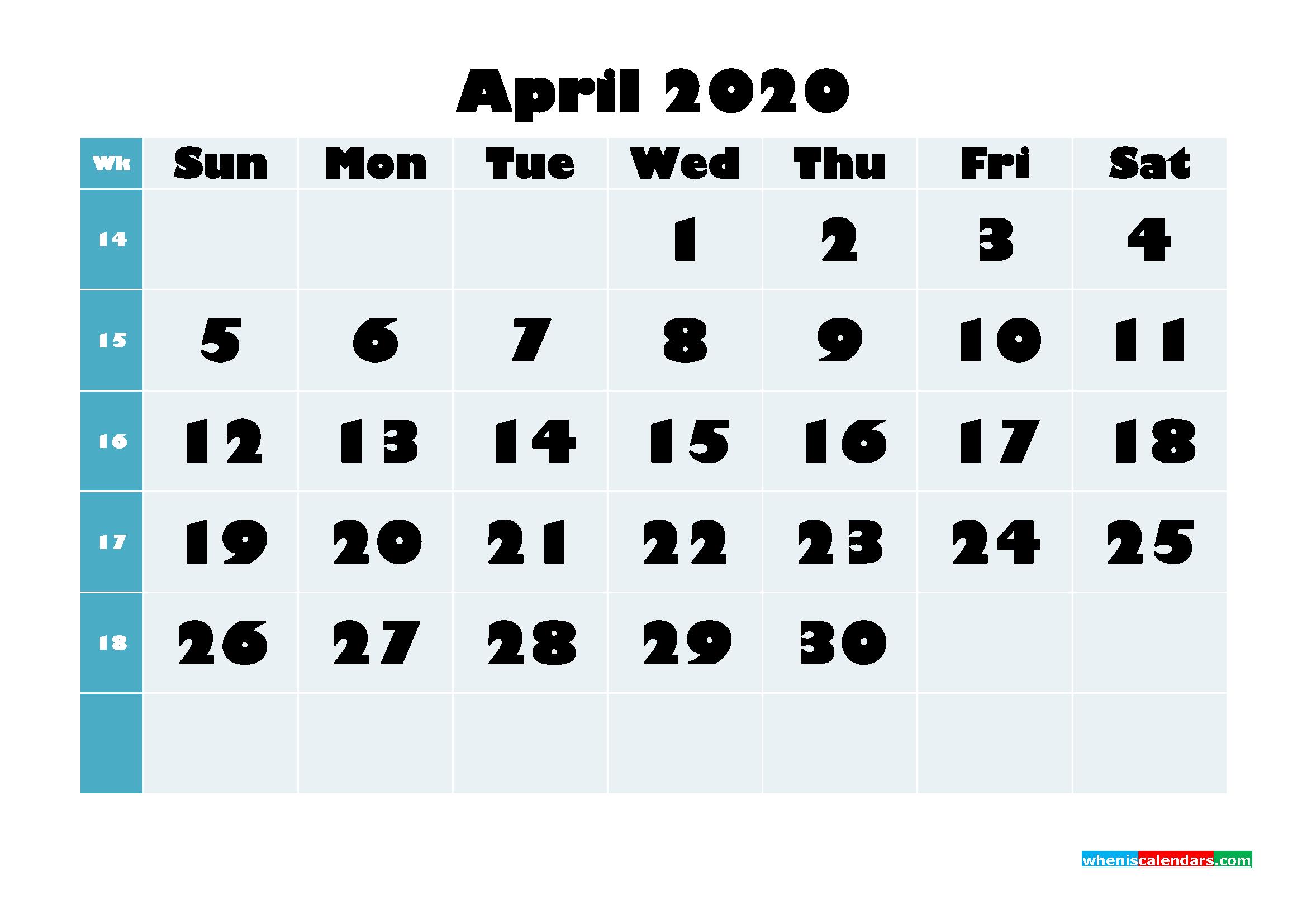 Free Blank Calendar April 2020 Printable - No.m20b688