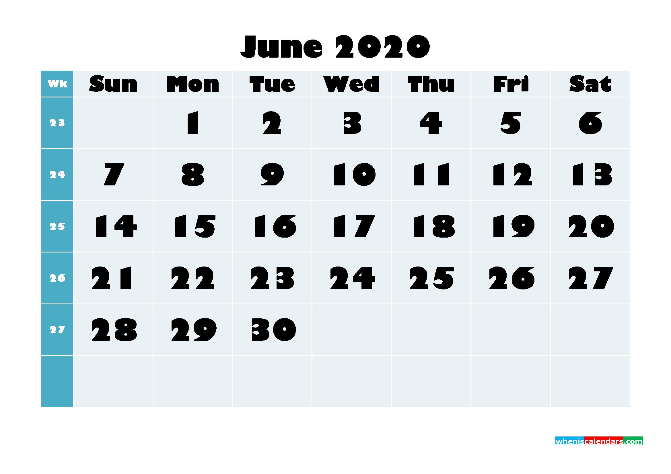 Free Blank Calendar June 2020 Printable - No.m20b690