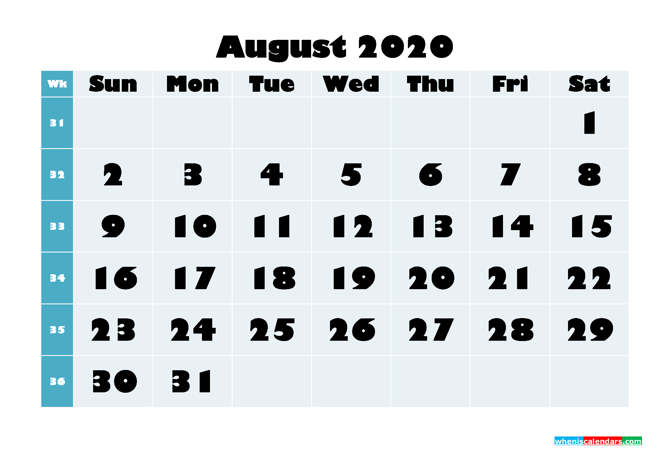 August 2020 Monthly Calendar Template Word