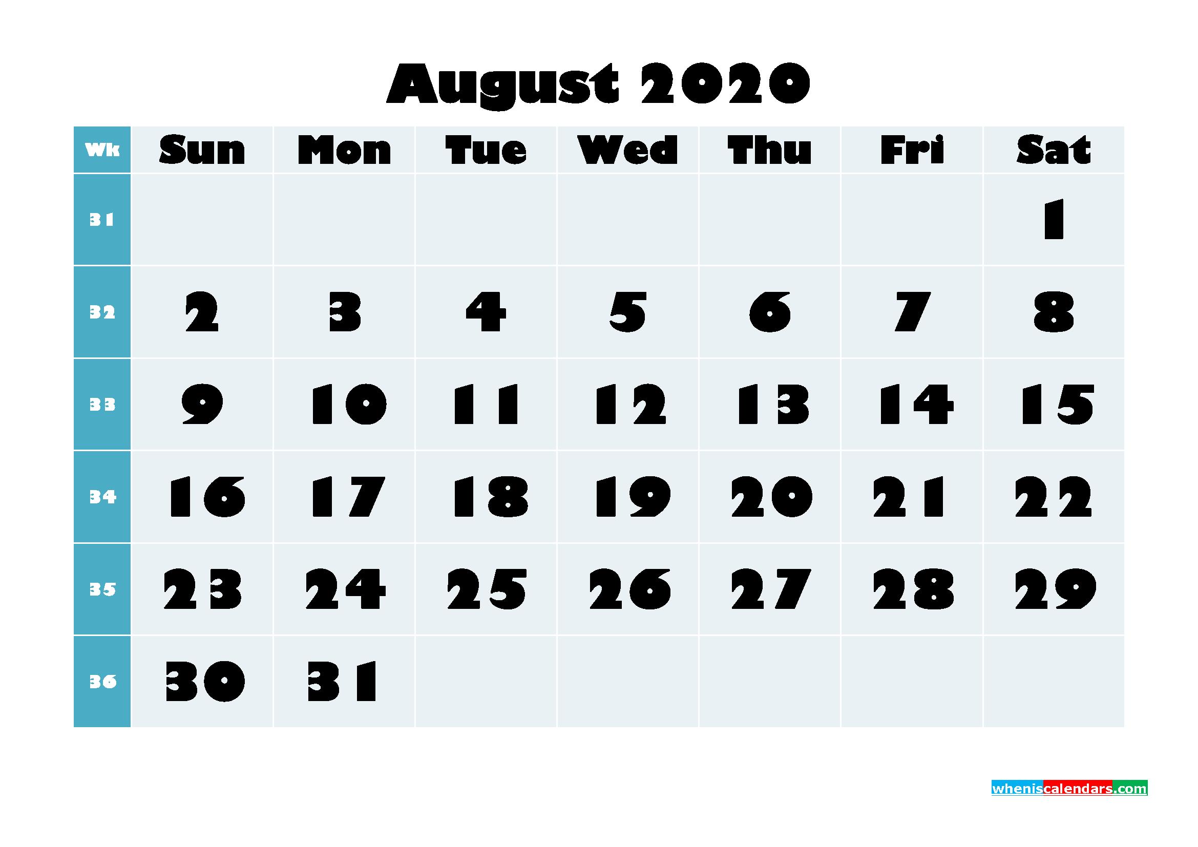 Free Blank Calendar August 2020 Printable - No.m20b692