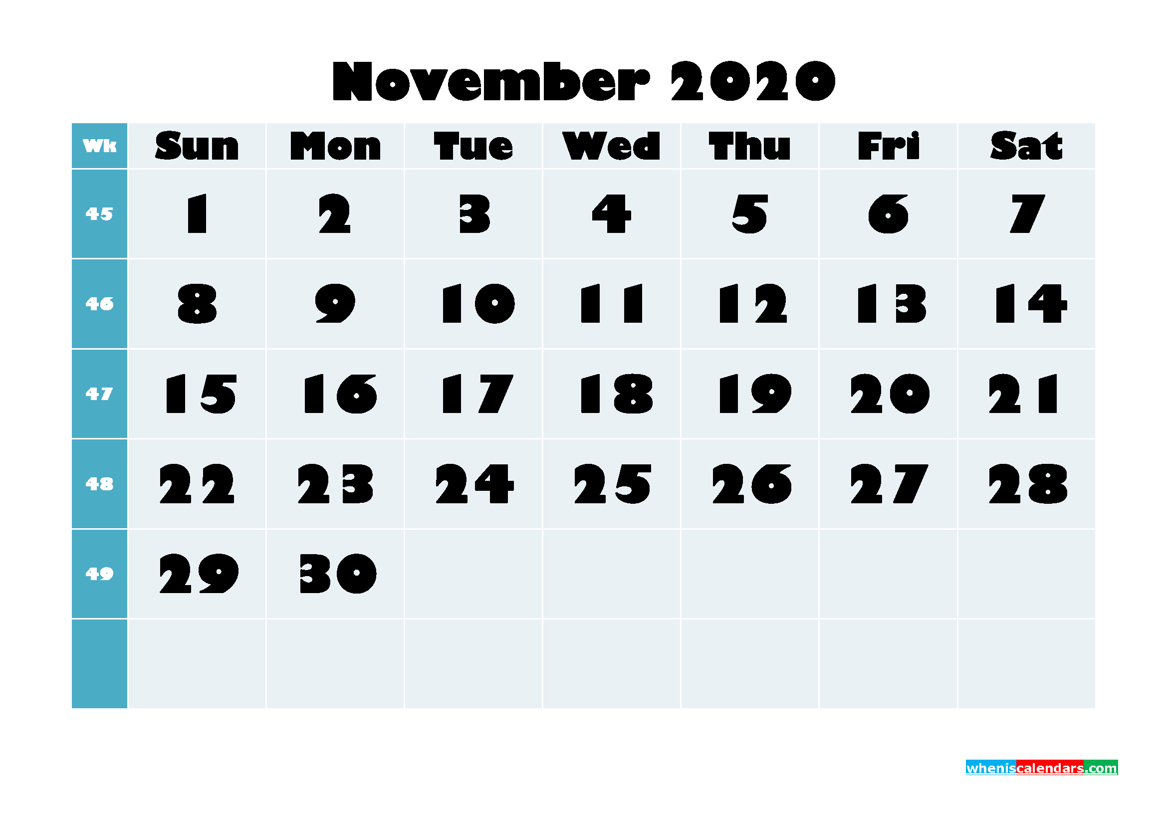 Free Blank Calendar November 2020 Printable - No.m20b695
