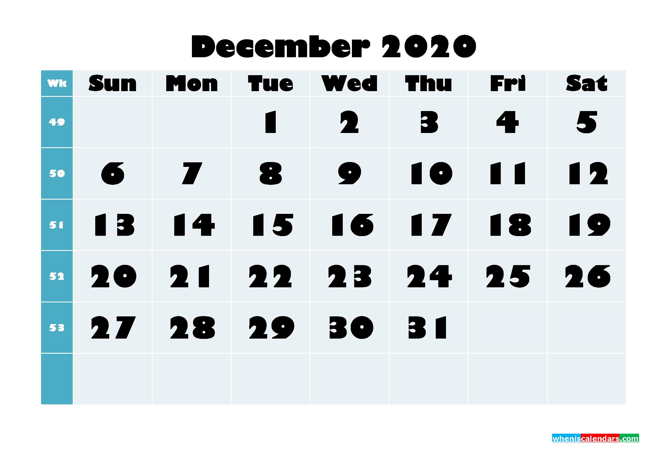 Free Blank Calendar December 2020 Printable - No.m20b696