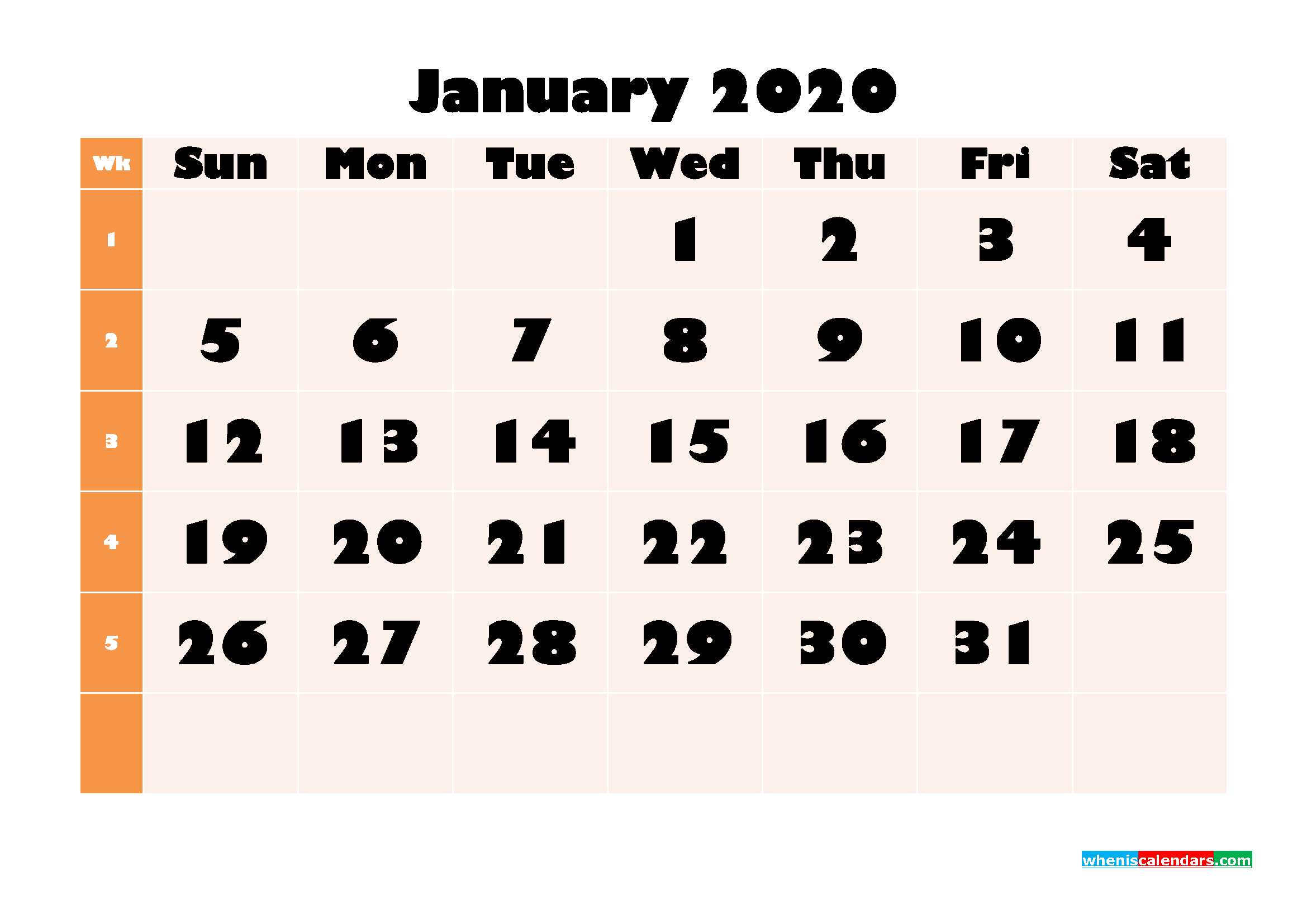 Monthly Printable Calendar 2020 January with Week Numbers