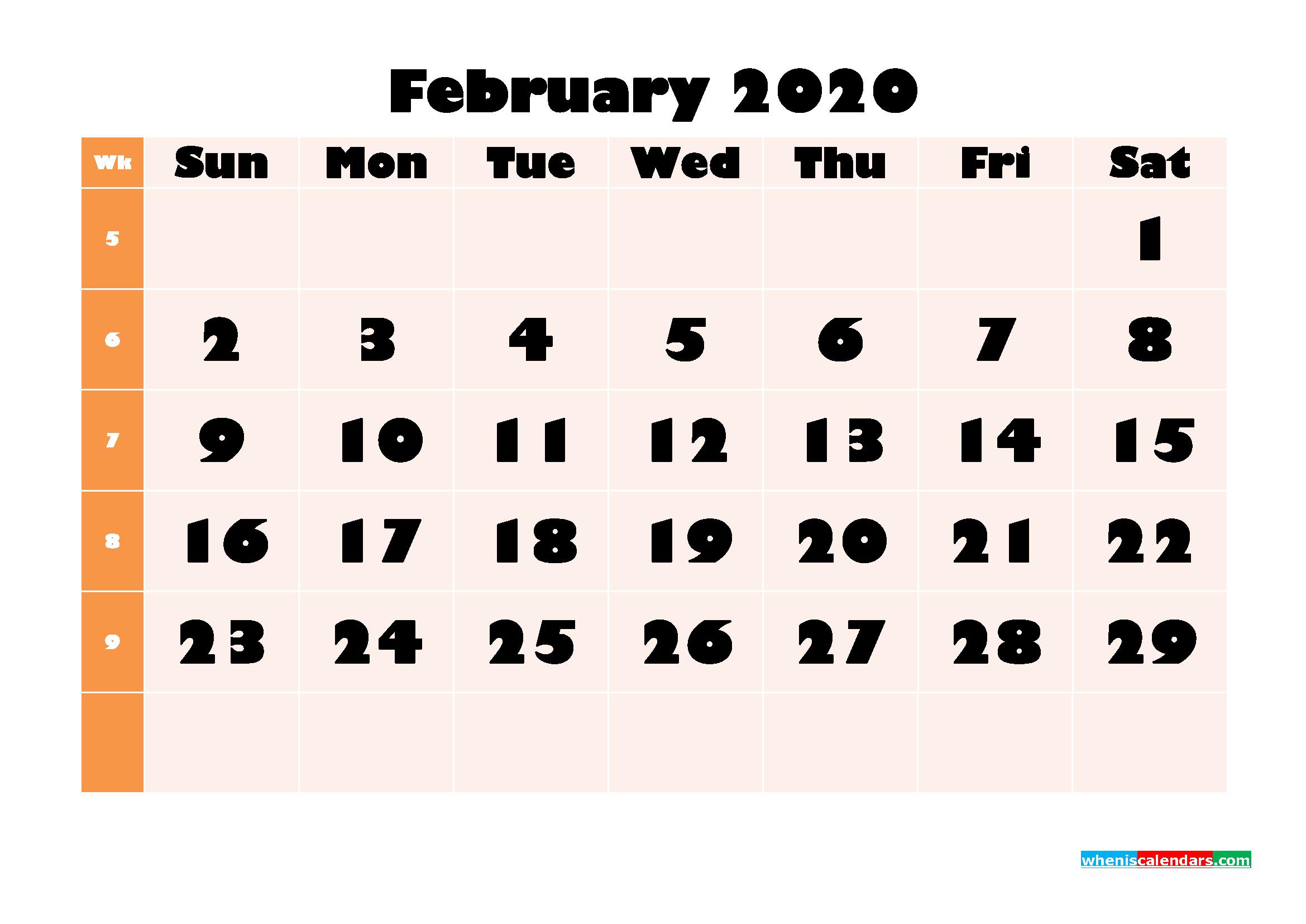 Blank February 2020 Calendar Printable - No.m20b698