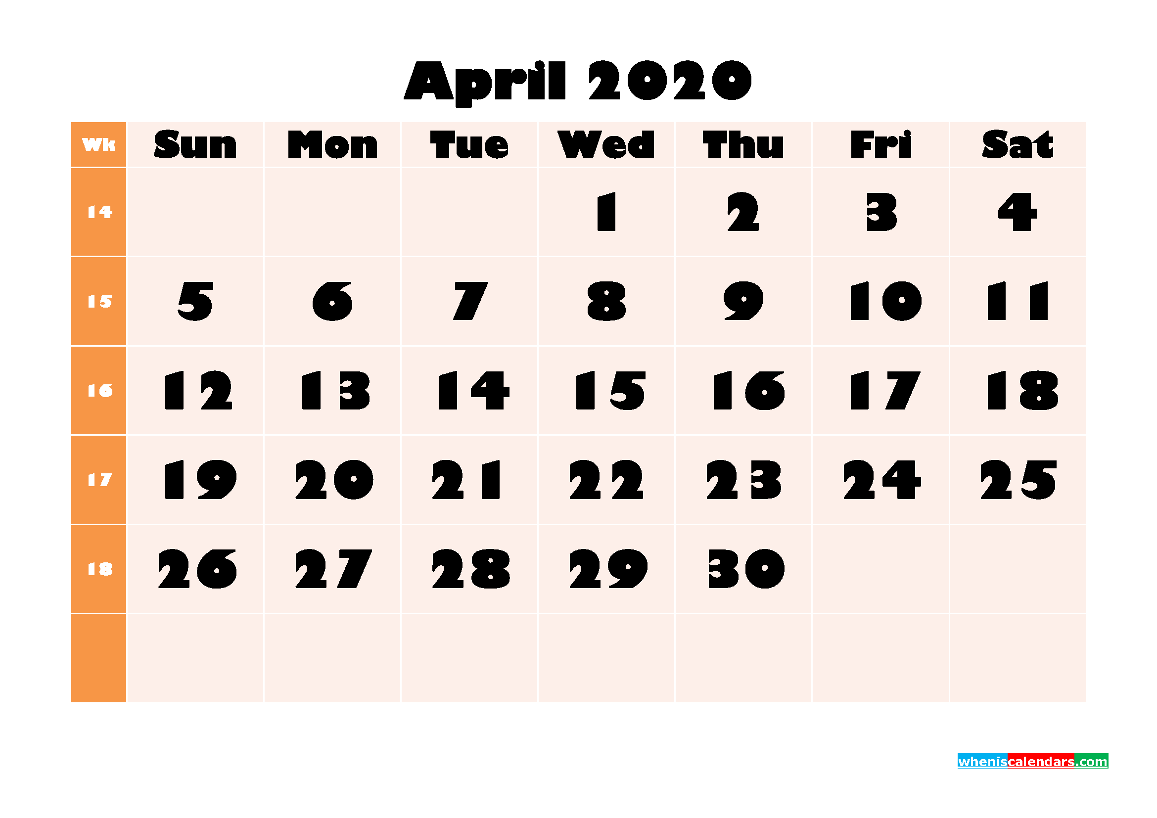 April 2020 Blank Calendar Printable Landscape Layout