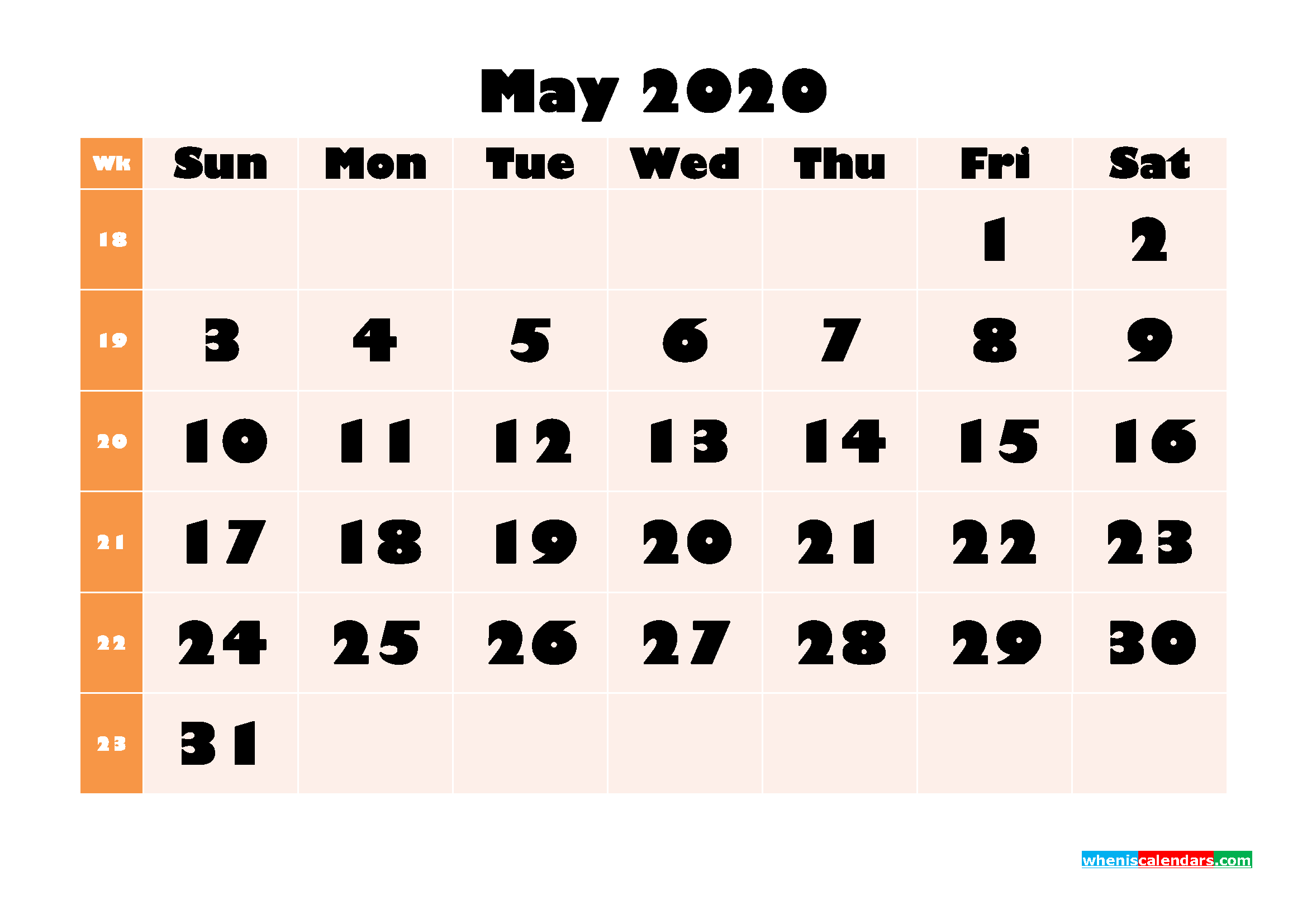 Monthly Printable Calendar 2020 May with Week Numbers