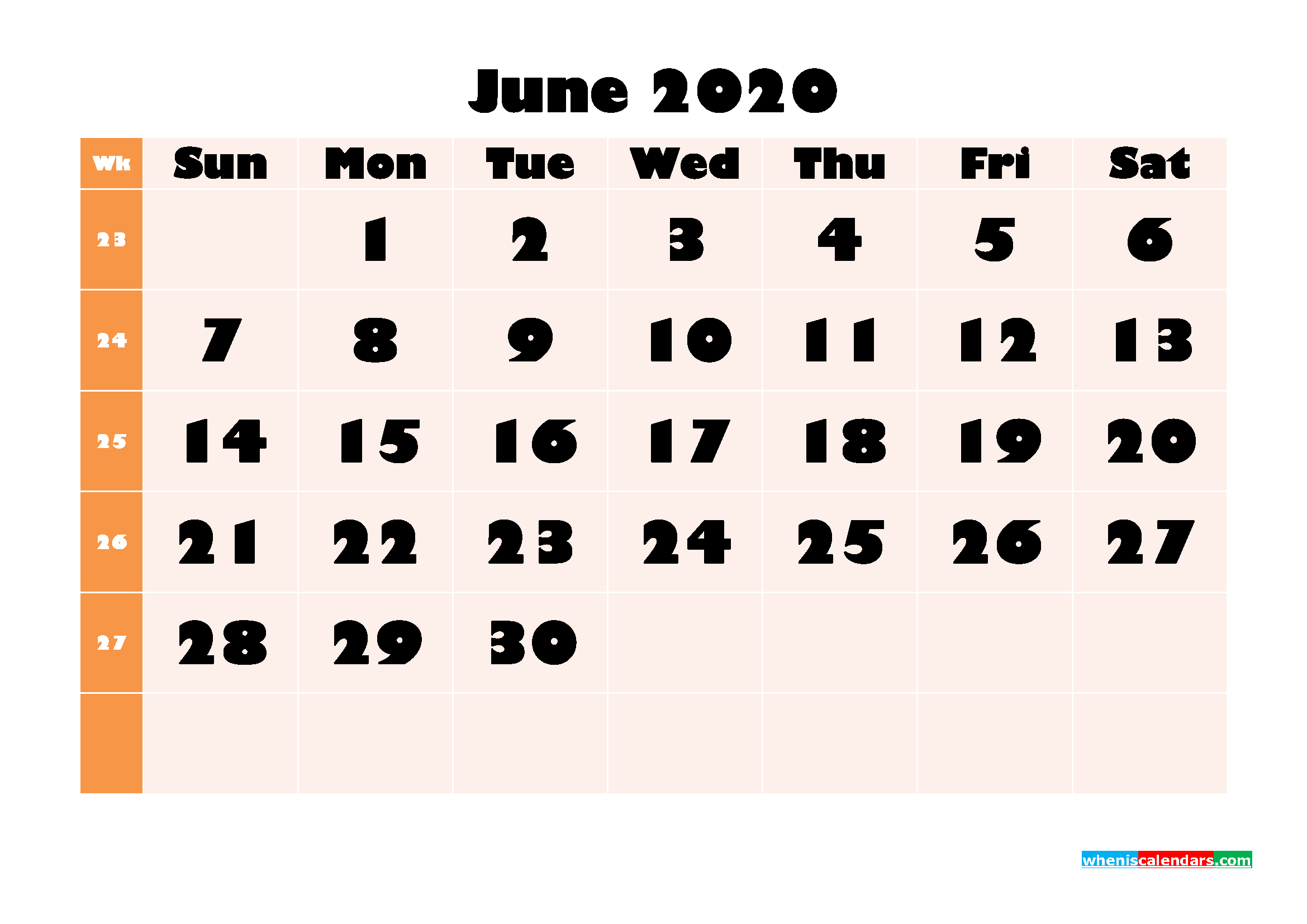 Blank June 2020 Calendar Printable - No.m20b702