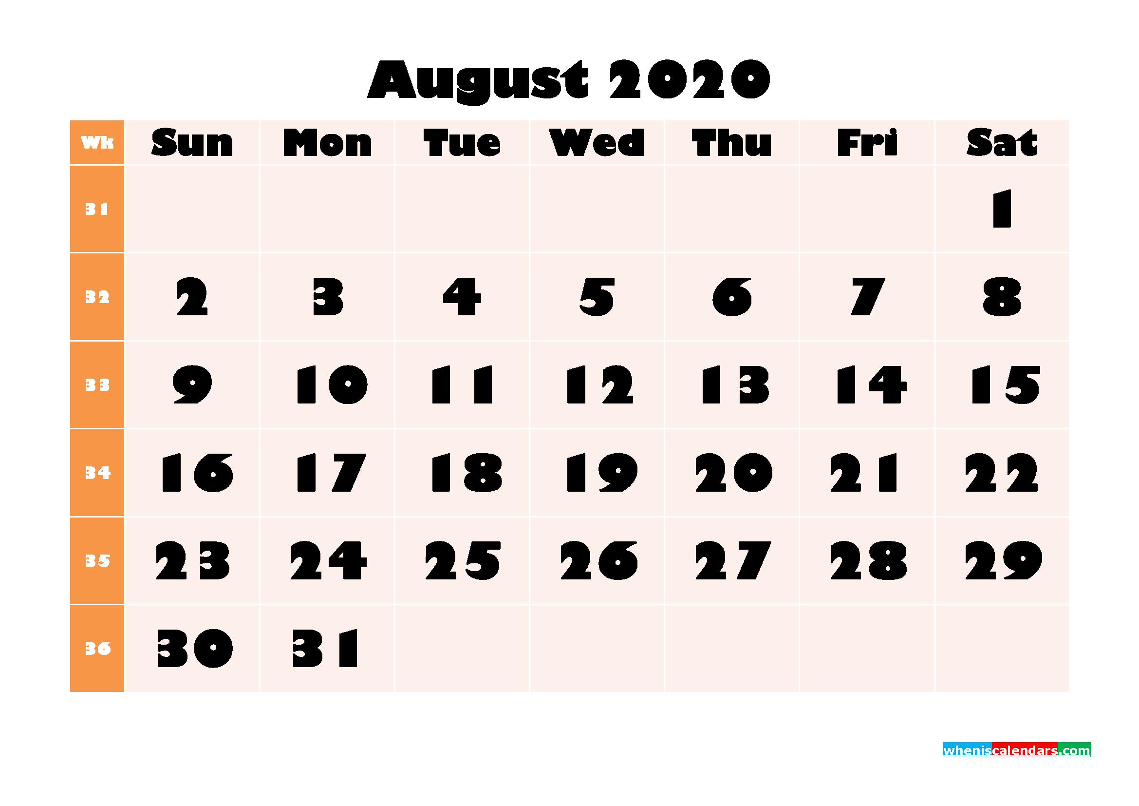 Blank August 2020 Calendar Printable - No.m20b704