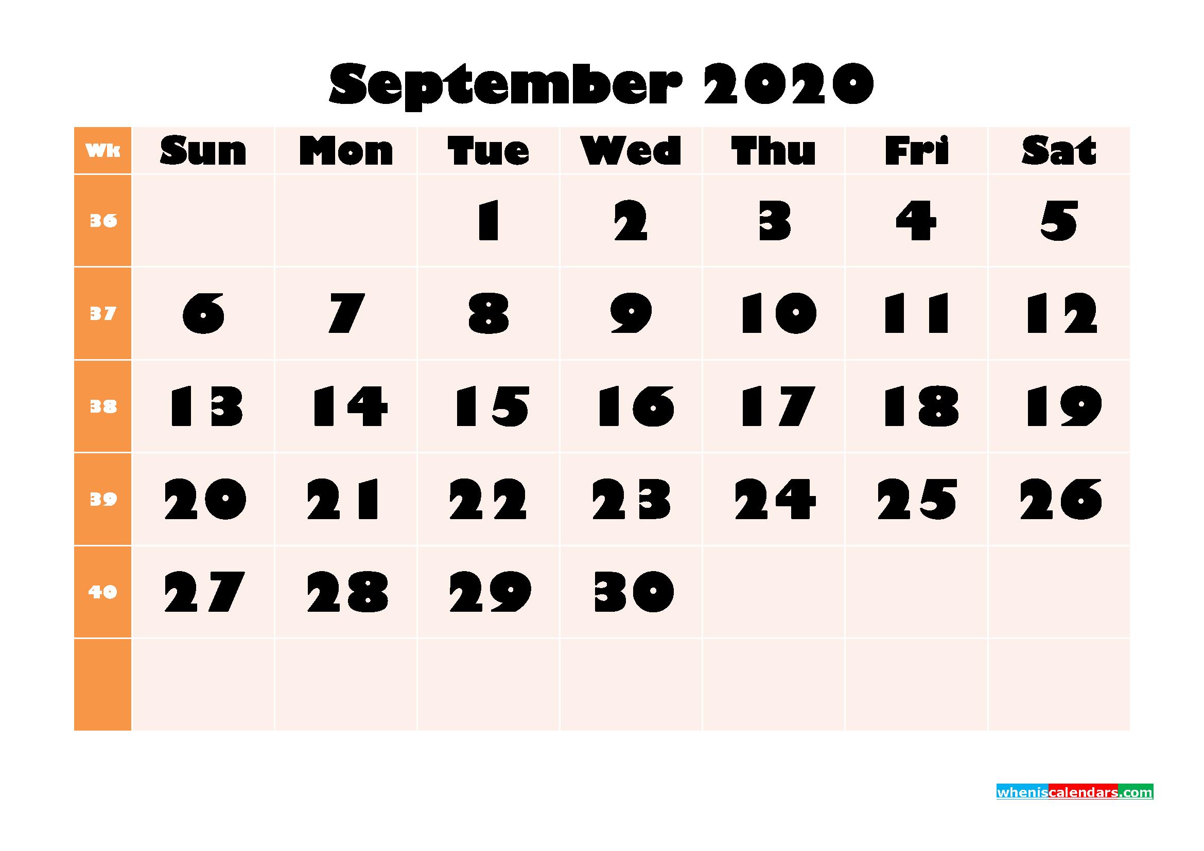 Blank September 2020 Calendar Printable - No.m20b705