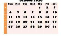 Monthly Printable Calendar 2020 October with Week Numbers