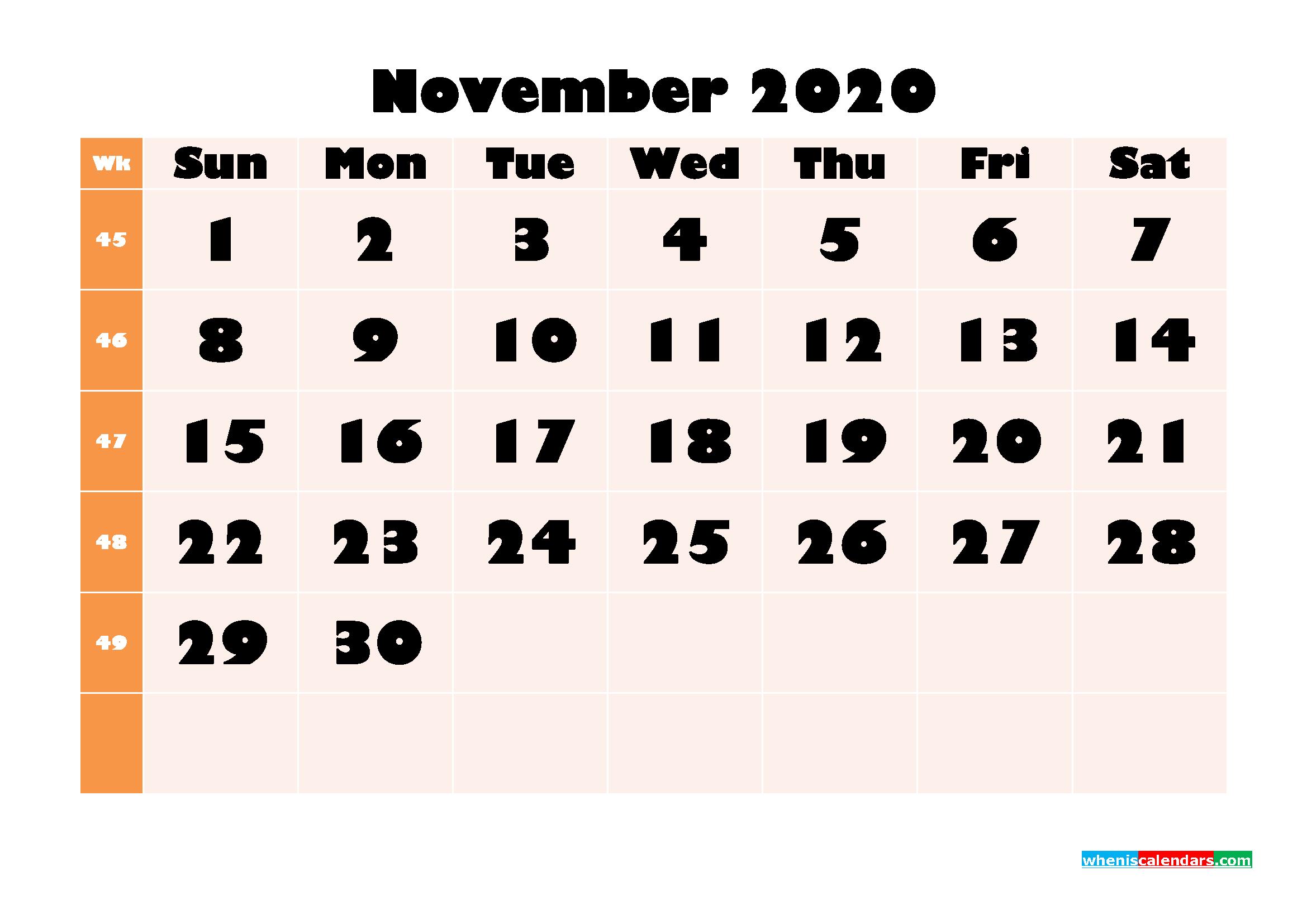 Blank November 2020 Calendar Printable - No.m20b707
