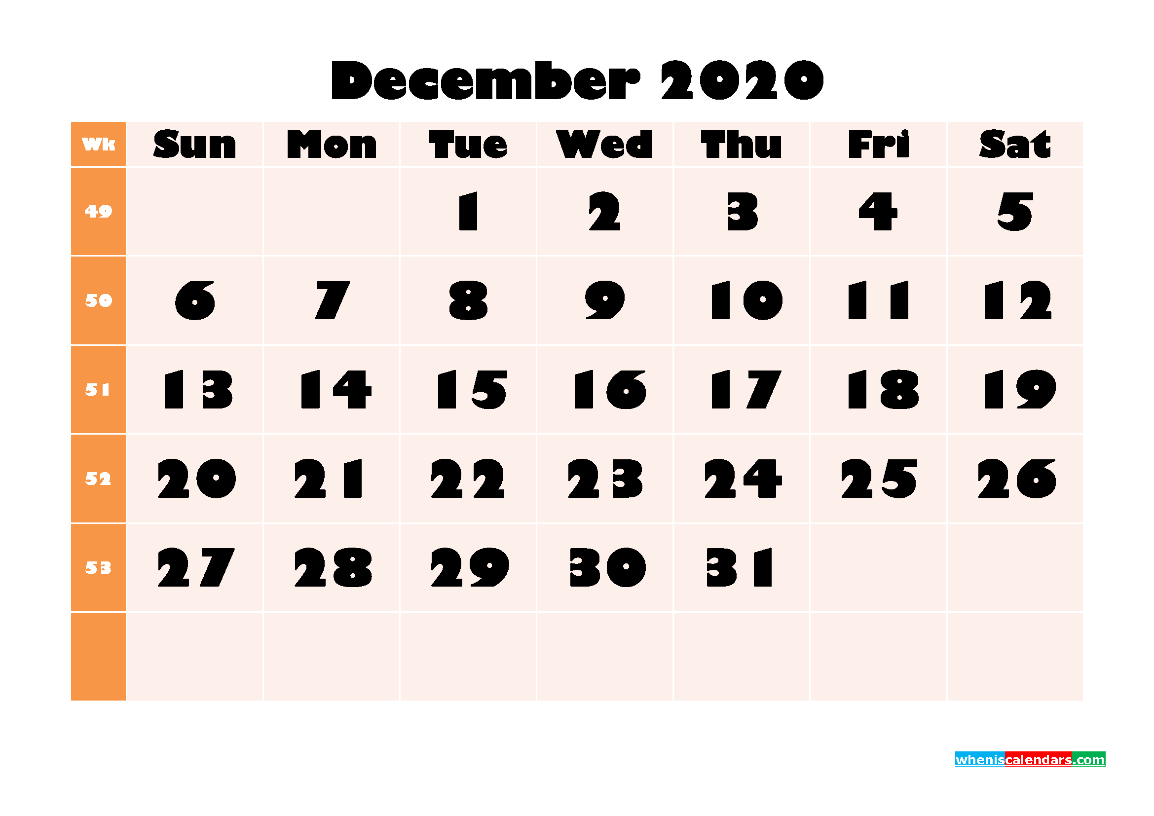 Monthly Printable Calendar 2020 December with Week Numbers