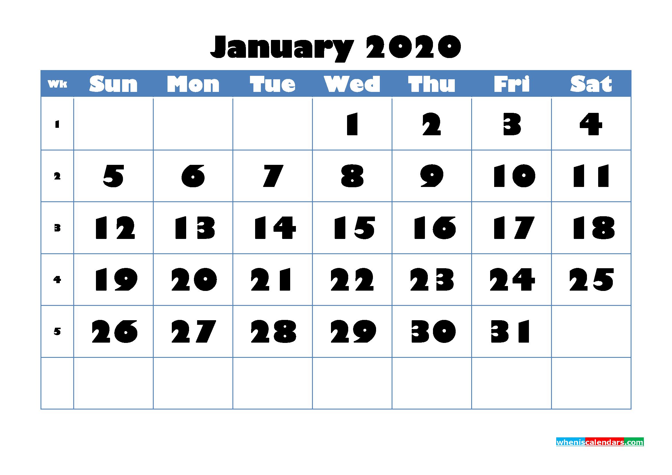 January 2020 Blank Calendar Printable - No.m20b709