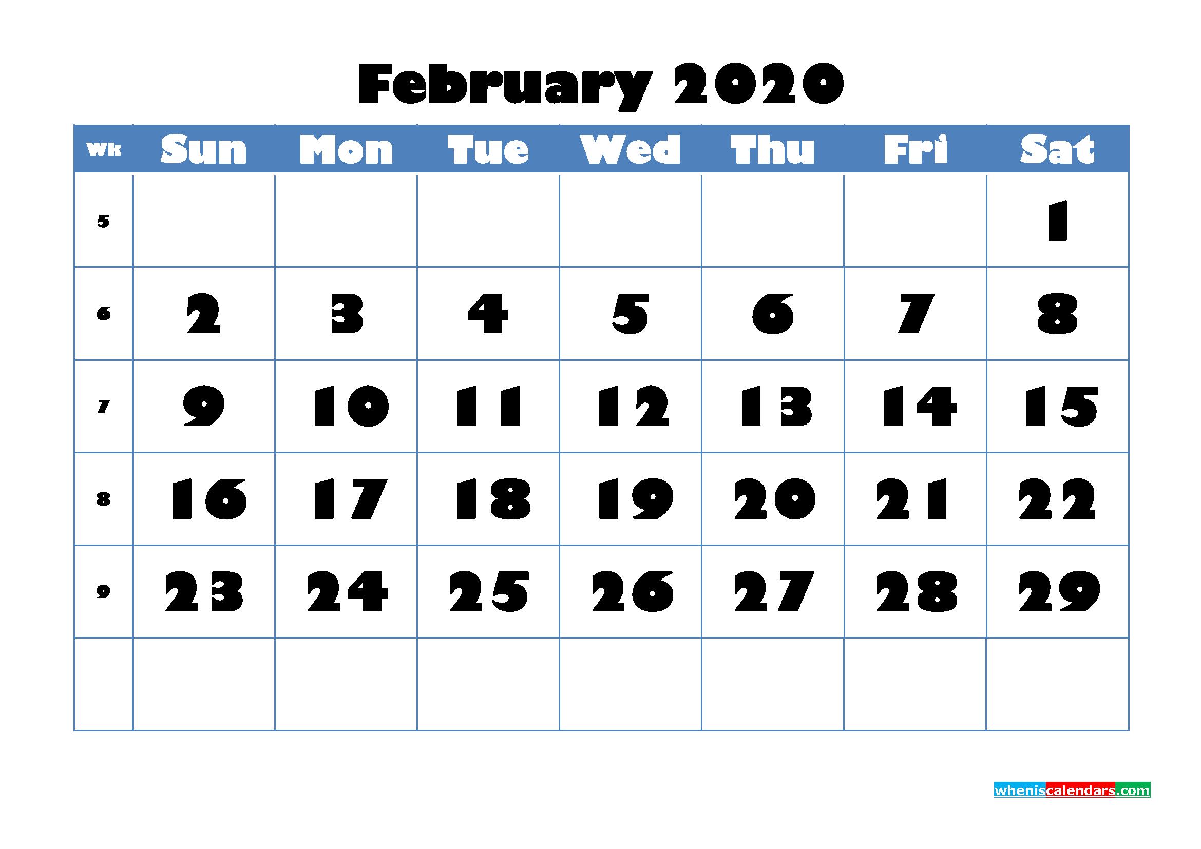 February 2020 Blank Calendar Printable - No.m20b710
