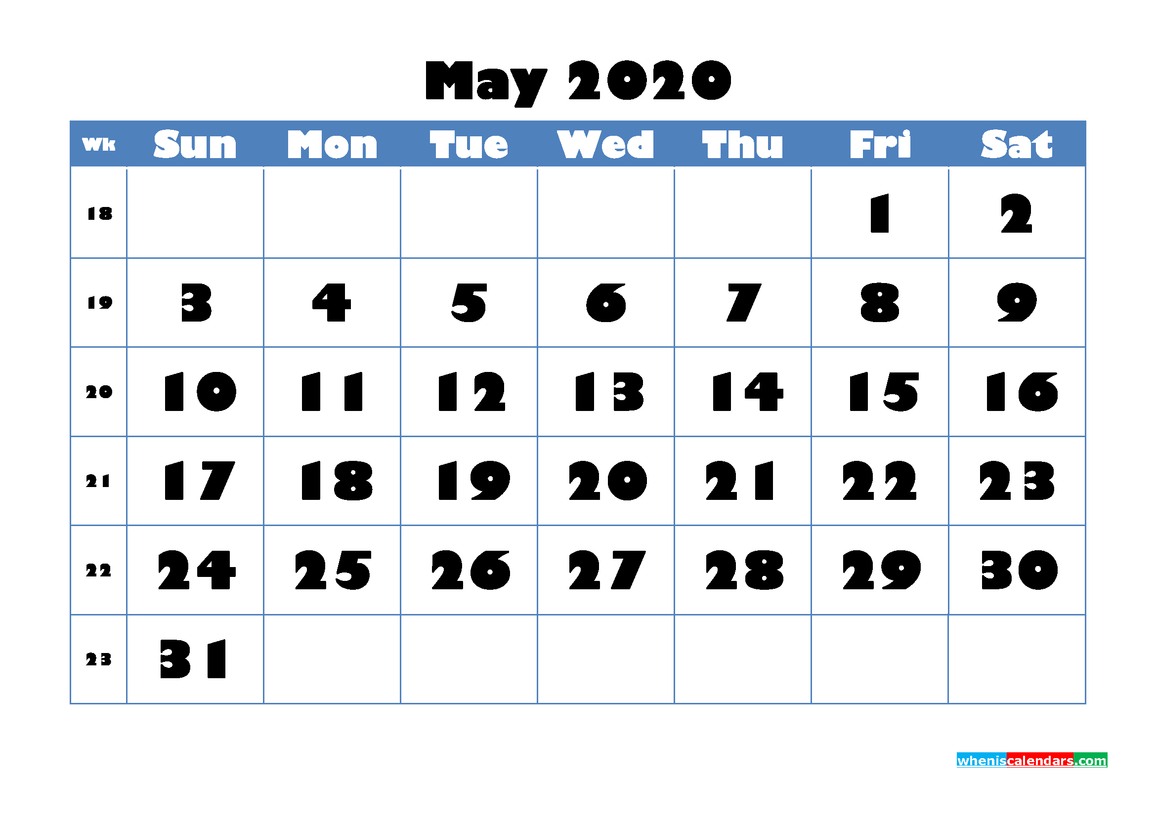 Blank Calendar for May 2020 Printable Word Format