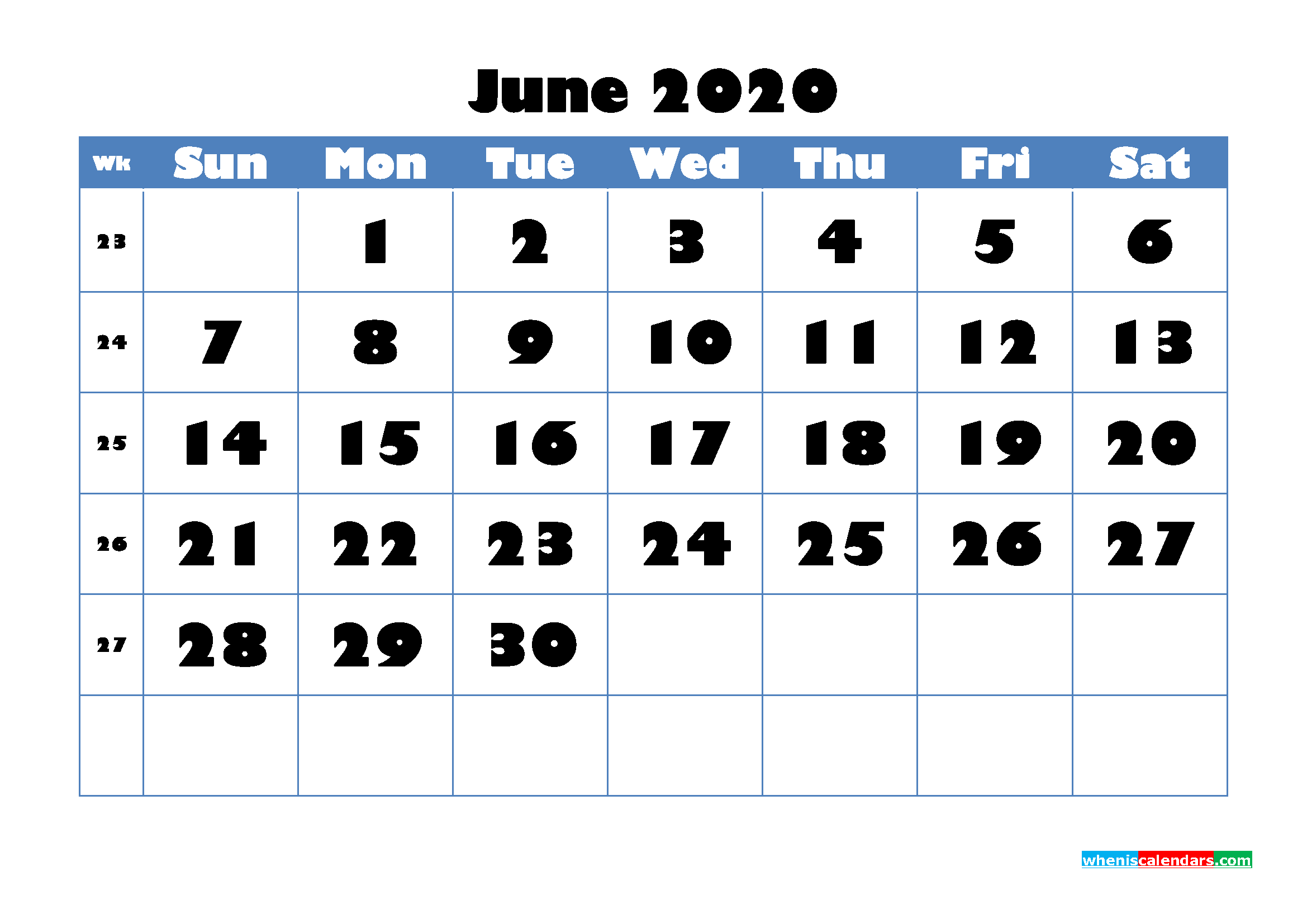 June 2020 Blank Calendar Printable - No.m20b714