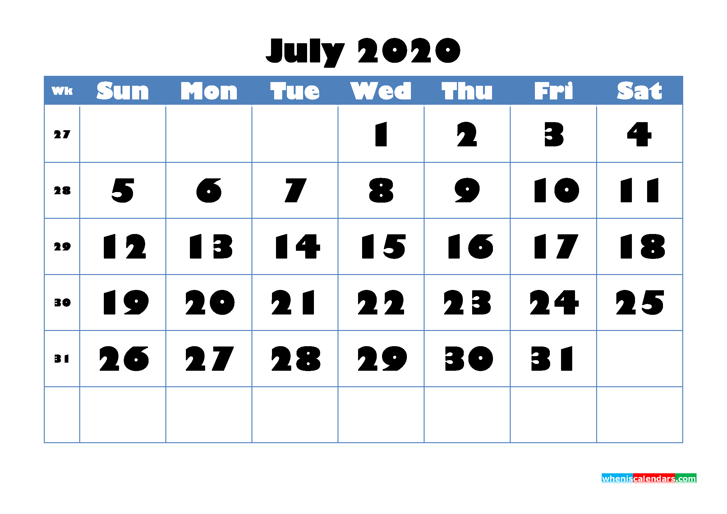 July 2020 Blank Calendar Printable - No.m20b715