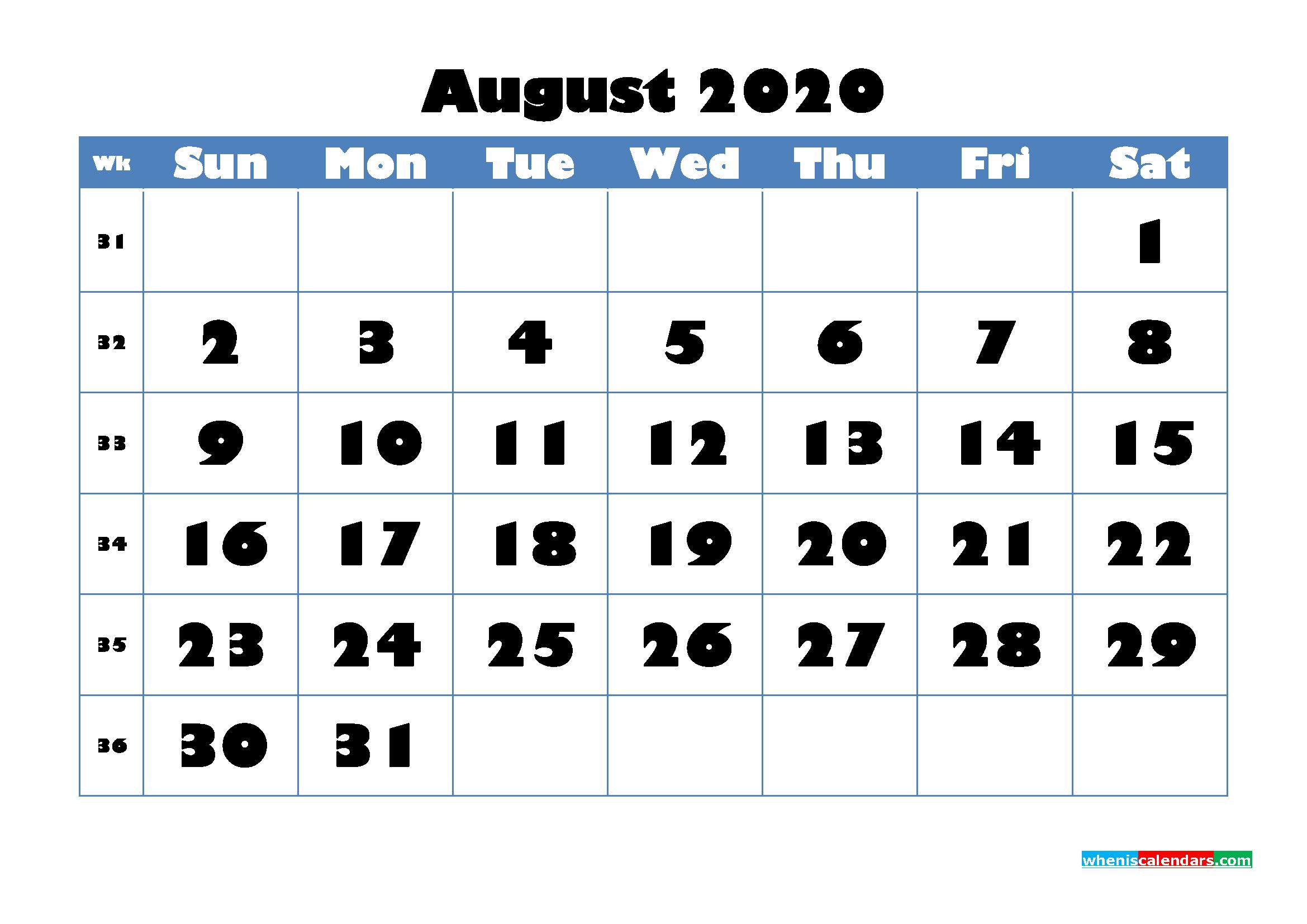 August 2020 Blank Calendar Printable - No.m20b716